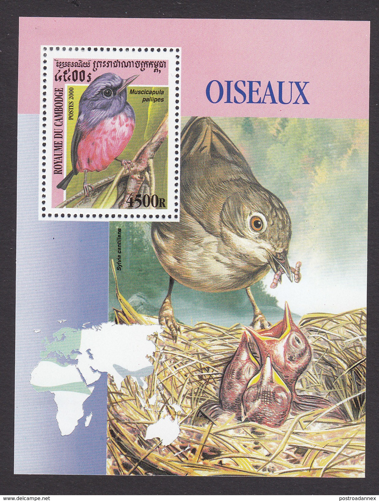 Cambodia, Scott #2037, Mint Hinged, Birds, Issued 2000 - Cambodge