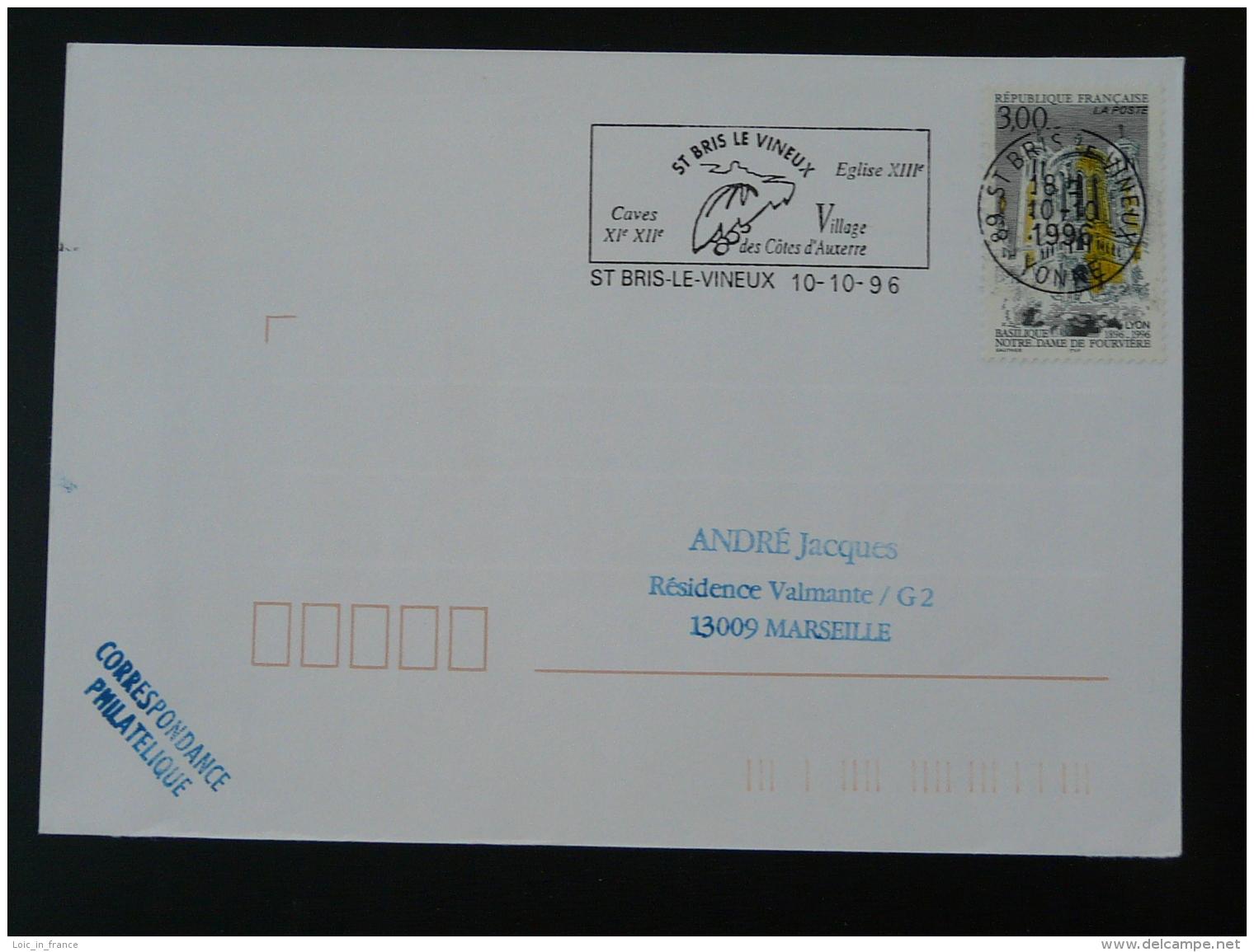 89 Yonne Saint Bris Le Vineux - Flamme Sur Lettre Postmark On Cover - Marcophilie (Lettres)