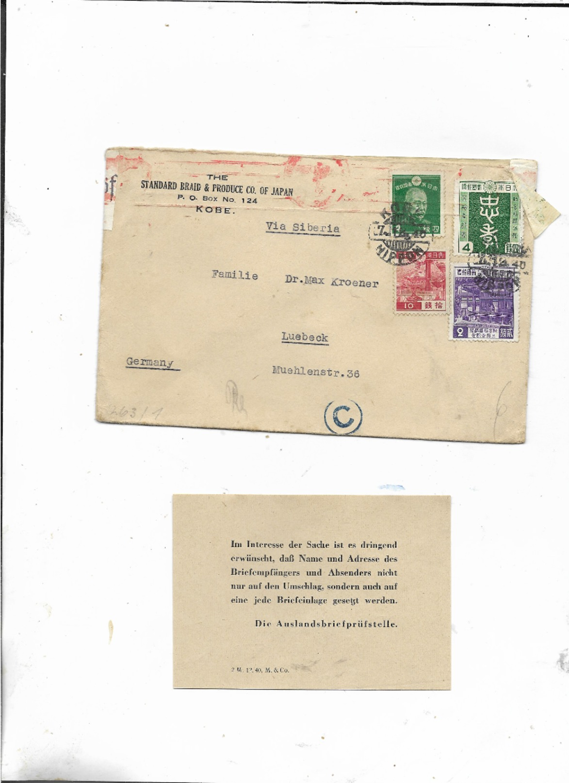 Brief Von Kobe Japan Nach Lübeck 1940/Zensiert/Geöffnet Wehrmacht Mit Bericht Der Prüfungstelle - Briefe U. Dokumente