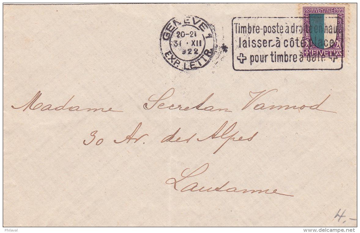 Pro-Juventute No J23 Sur Lettre Oblitérée Genève Le 30.XII.1922 - Lettres & Documents