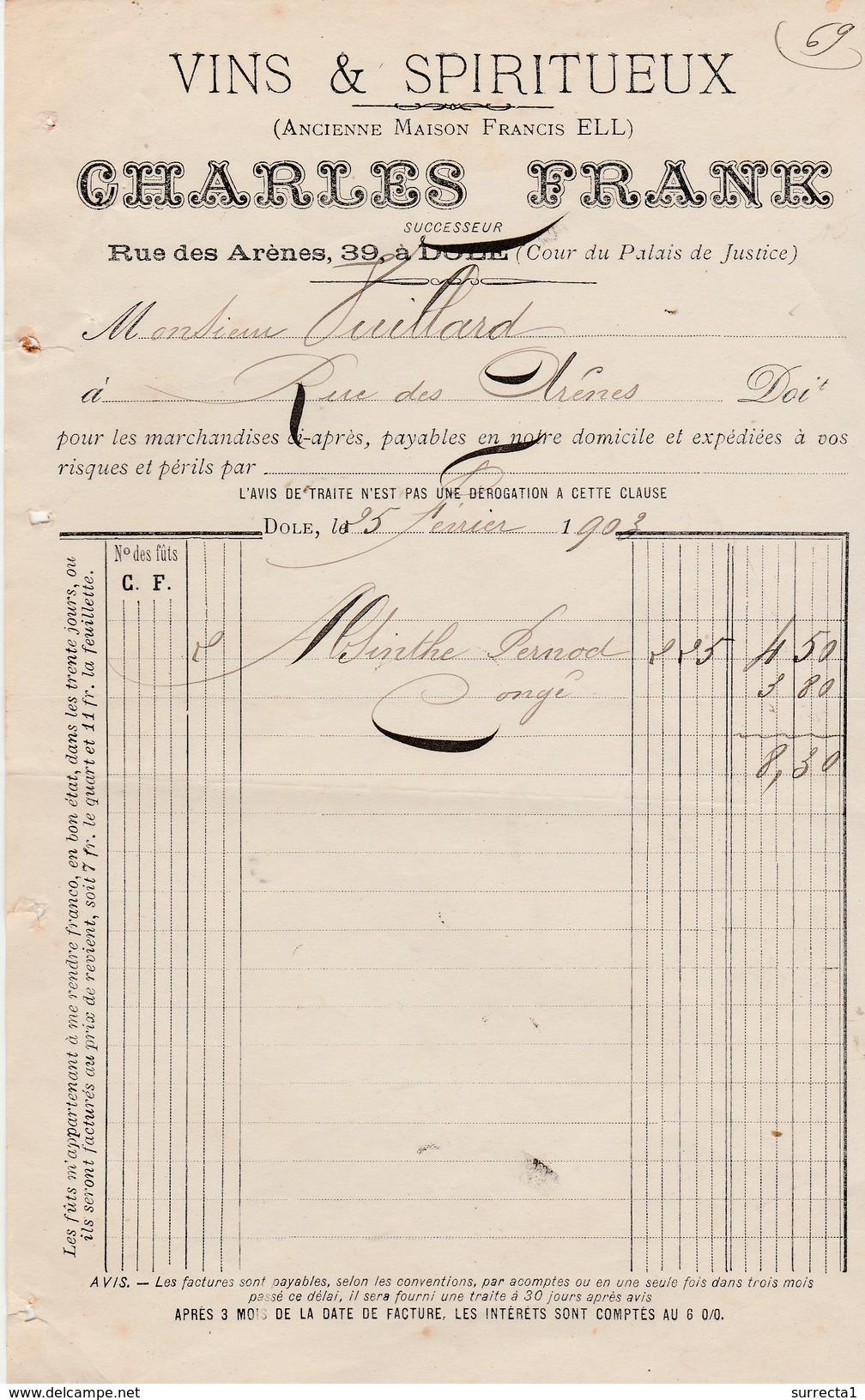 Petite Facture ABSINTHE Pernod 1903 / Charles FRANCK / Vins & Spiritueux / Rue Des Arènes à Dole / 39 Jura - Luxemburgo