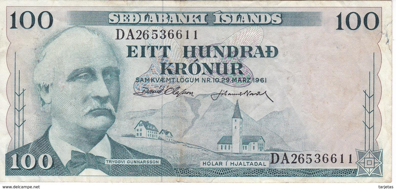 BILLETE DE ISLANDIA DE 100 KRONUR DEL AÑO 1961   (BANKNOTE) - Islandia