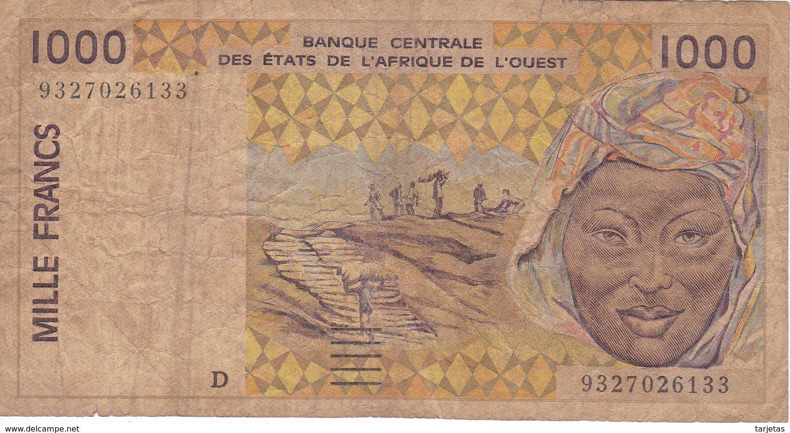 BILLETE DE MALI DE 1000 FRANCS DEL AÑO 1994  (BANK NOTE) - Mali