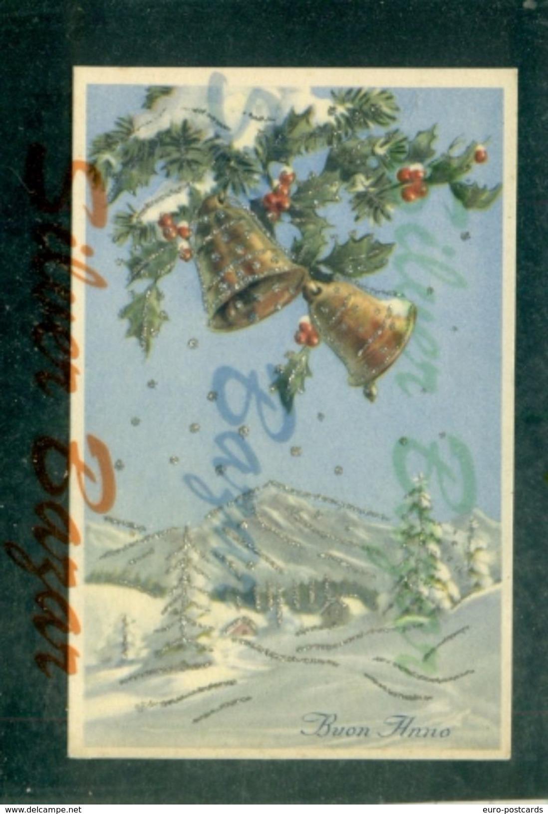 CARTOLINE CON BRILLANTINI-GLITTER POSTCARDS-CARTES POSTALES AVEC BRILANTES-AUGURALI-BION ANNO - Cartoline