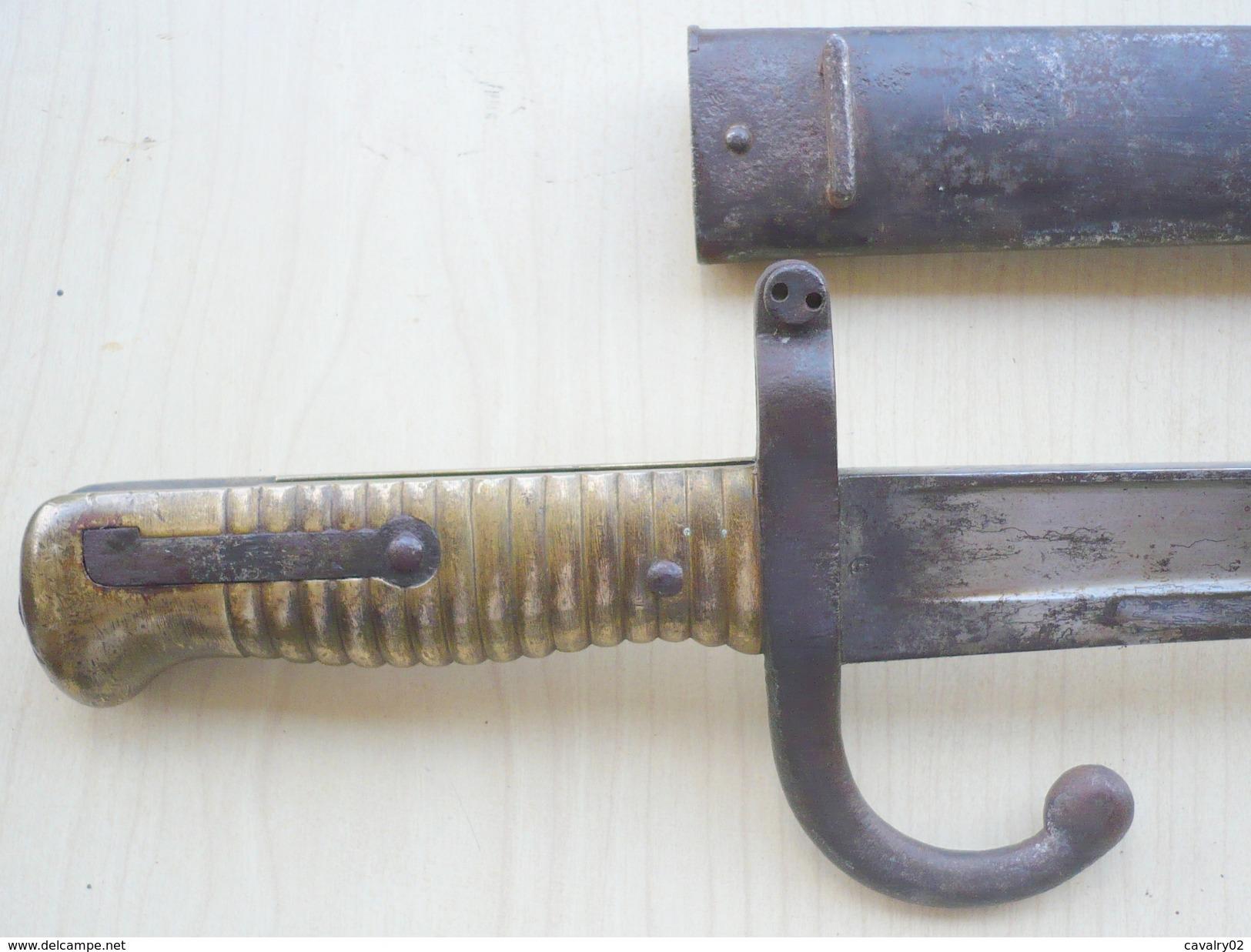 Sabre Baïonnette Français Modèle 1866 Chassepot Au Même Numéro. - Armes Blanches
