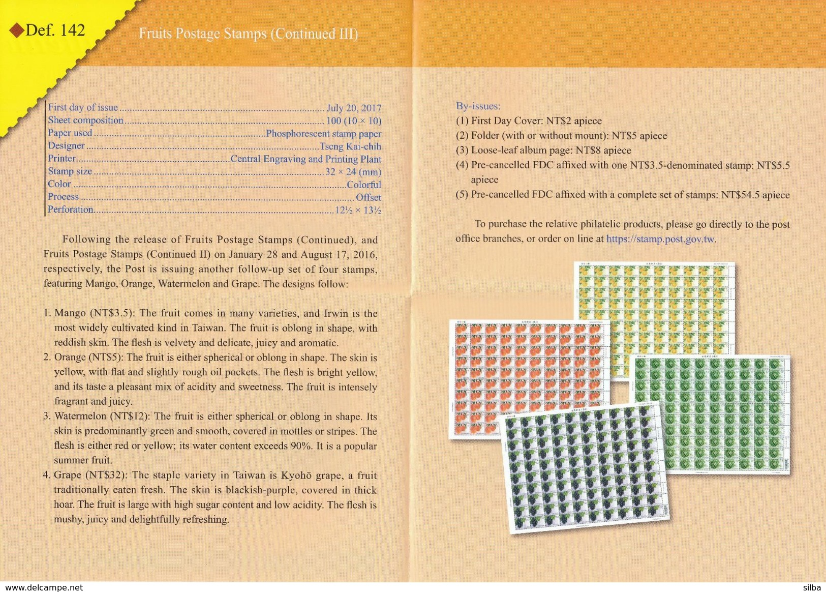 China Taiwan 2017 / Philatelic Bulletin, Prospectus, Leaflet, Brochure / Fruits / Mango, Orange, Watermelon, Grape - Storia Postale