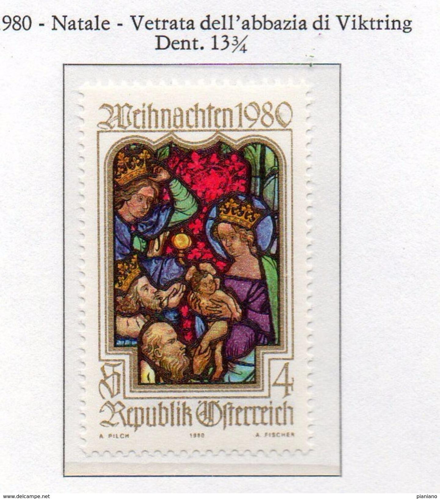 PIA - AUSTRIA - 1980 : Natale - Vetrata Dell' Abbazia Di Viktring -    (Yv 1491) - Vetri & Vetrate