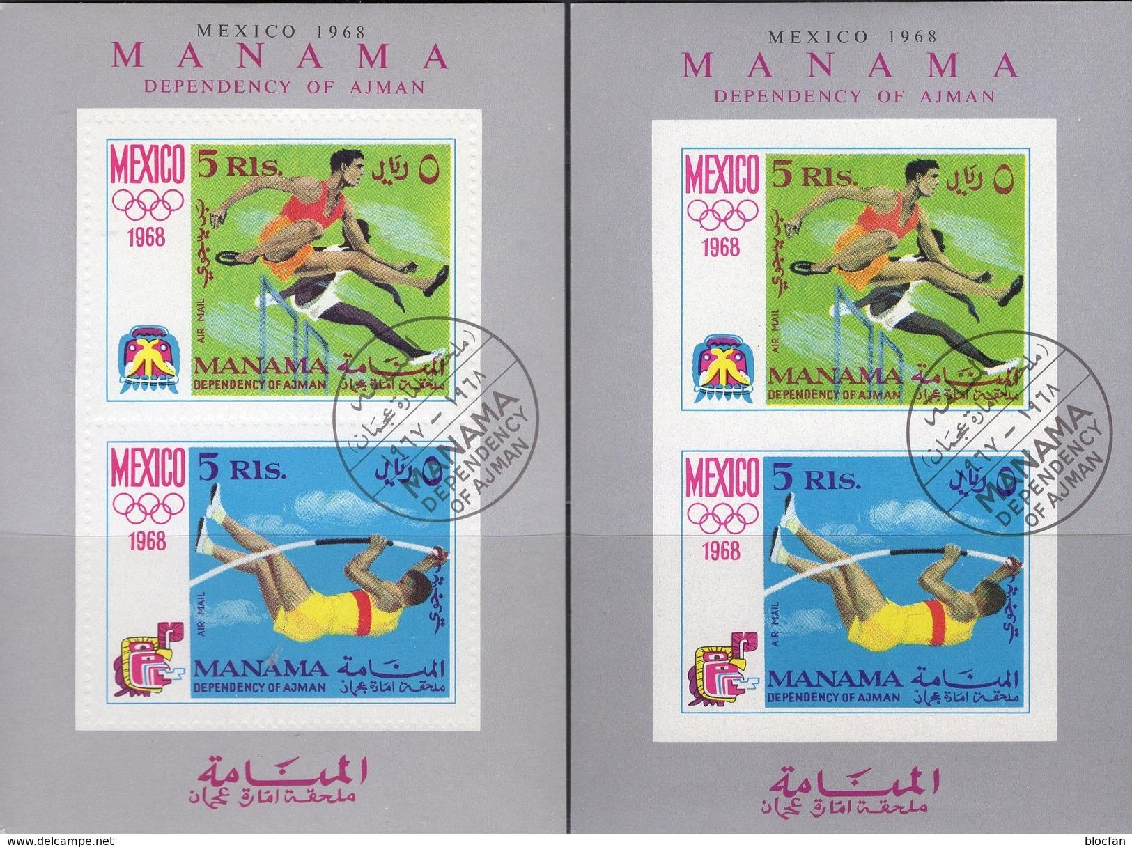 Olympia Mexiko 1968 Manama Blocks 5 A+B O 9€ Hürden-Lauf Hochsprung S/s Blocs Sport Olympics Sheets Bf VAE Adschman - Summer 1968: Mexico City