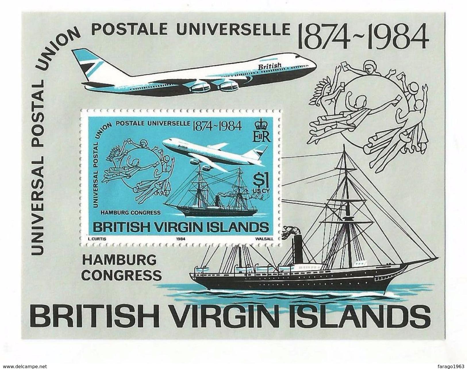 1984 British Virgin Islands UPU Ship Hamburg Airplanes Souvenir Sheet Complete  MNH - British Virgin Islands