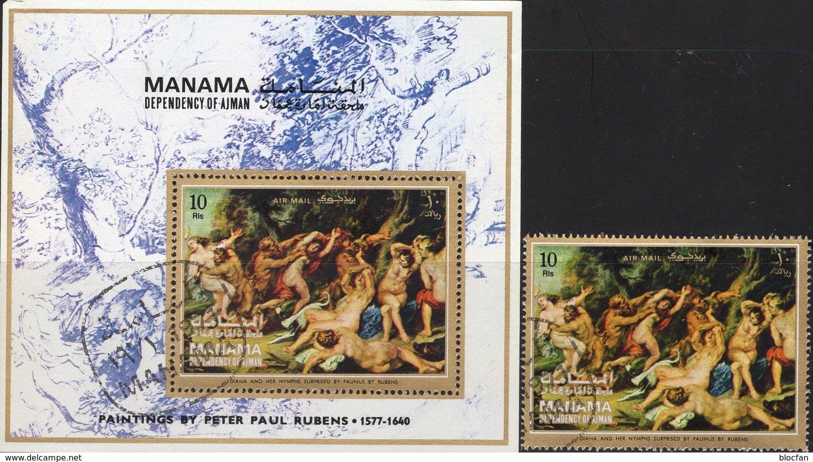 Maler Rubens Gemälde 1971 Manama 455+Block 100 O 3€ Diana Und Nymphen Art Bloc Paintings S/s Art Sheet VAE Adschman - Paintings
