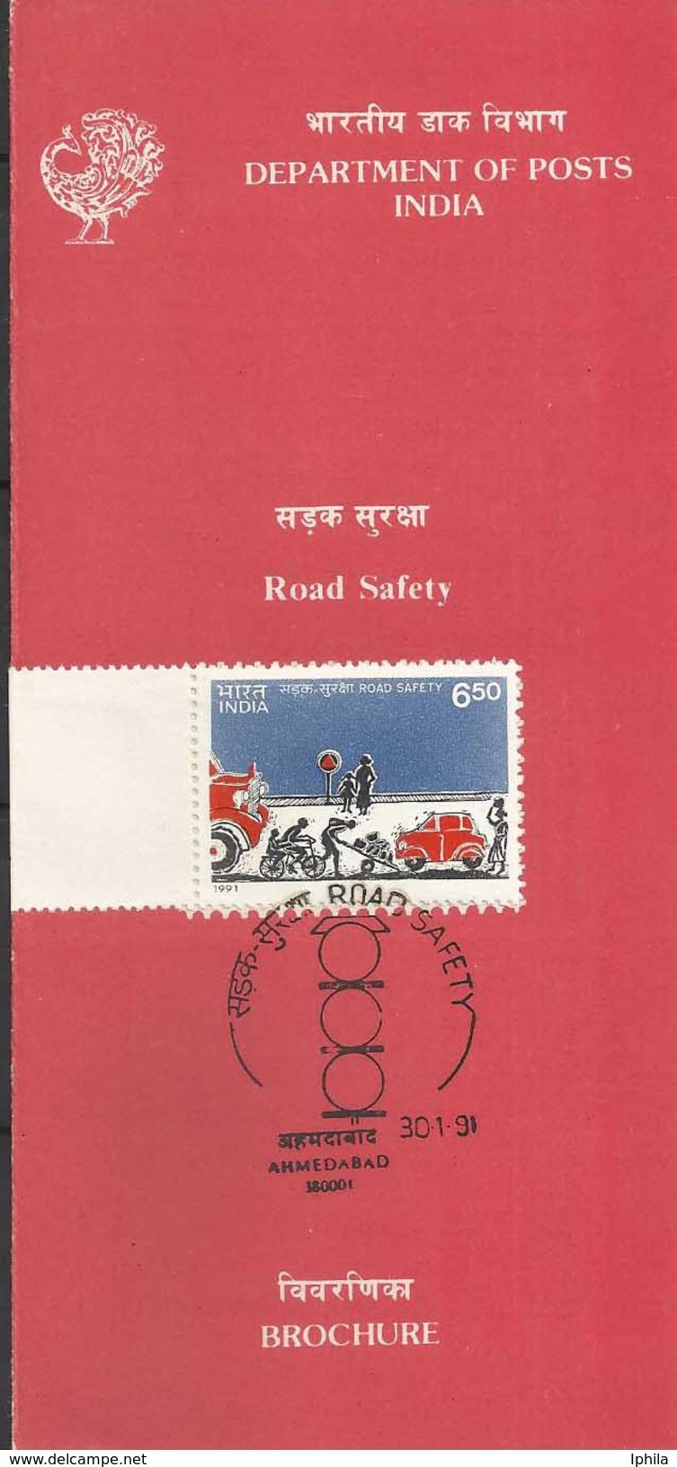Road Safety Cars Cycle Truck Transport Accidents Stamped Folder 1991 Health Indian Indien Inde Indes - Accidents & Road Safety