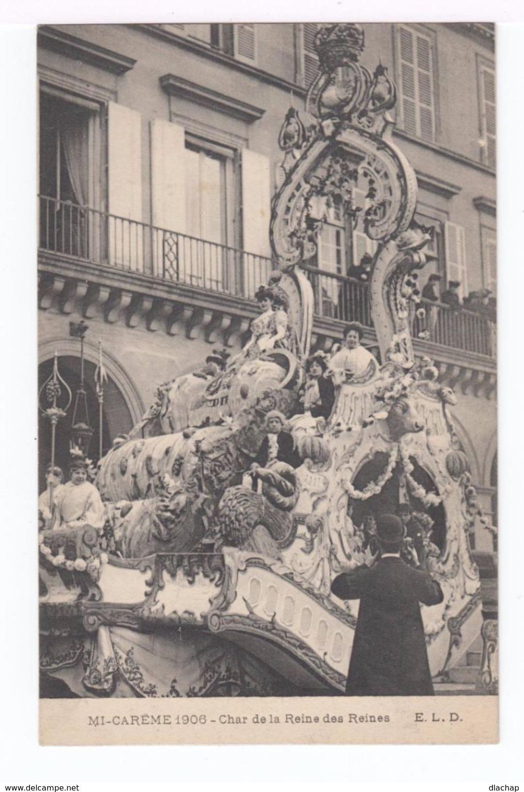 Trois Cartes Postales Mi Carême 1908. Paris. Char De La Dentelle, De La Reine Des Reines, Alliance Latine. (1837) - Wensen En Feesten
