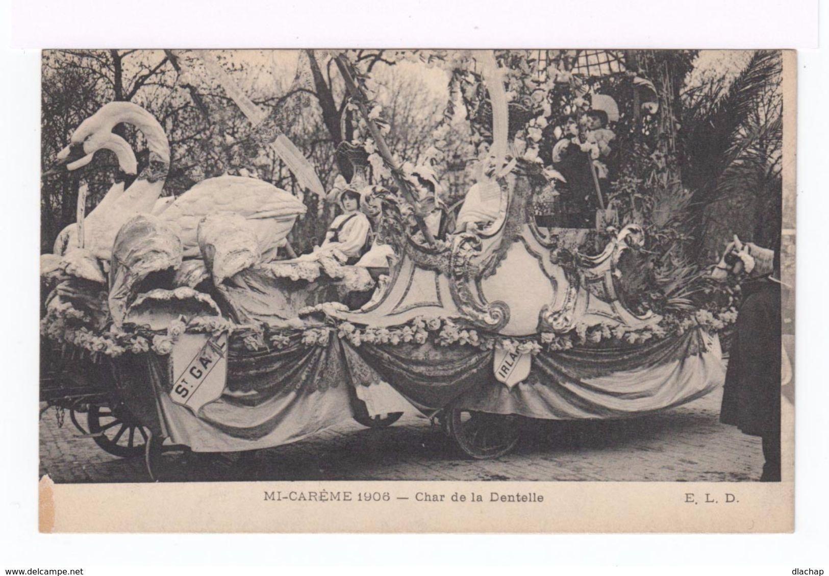 Trois Cartes Postales Mi Carême 1908. Paris. Char De La Dentelle, De La Reine Des Reines, Alliance Latine. (1837) - Autres