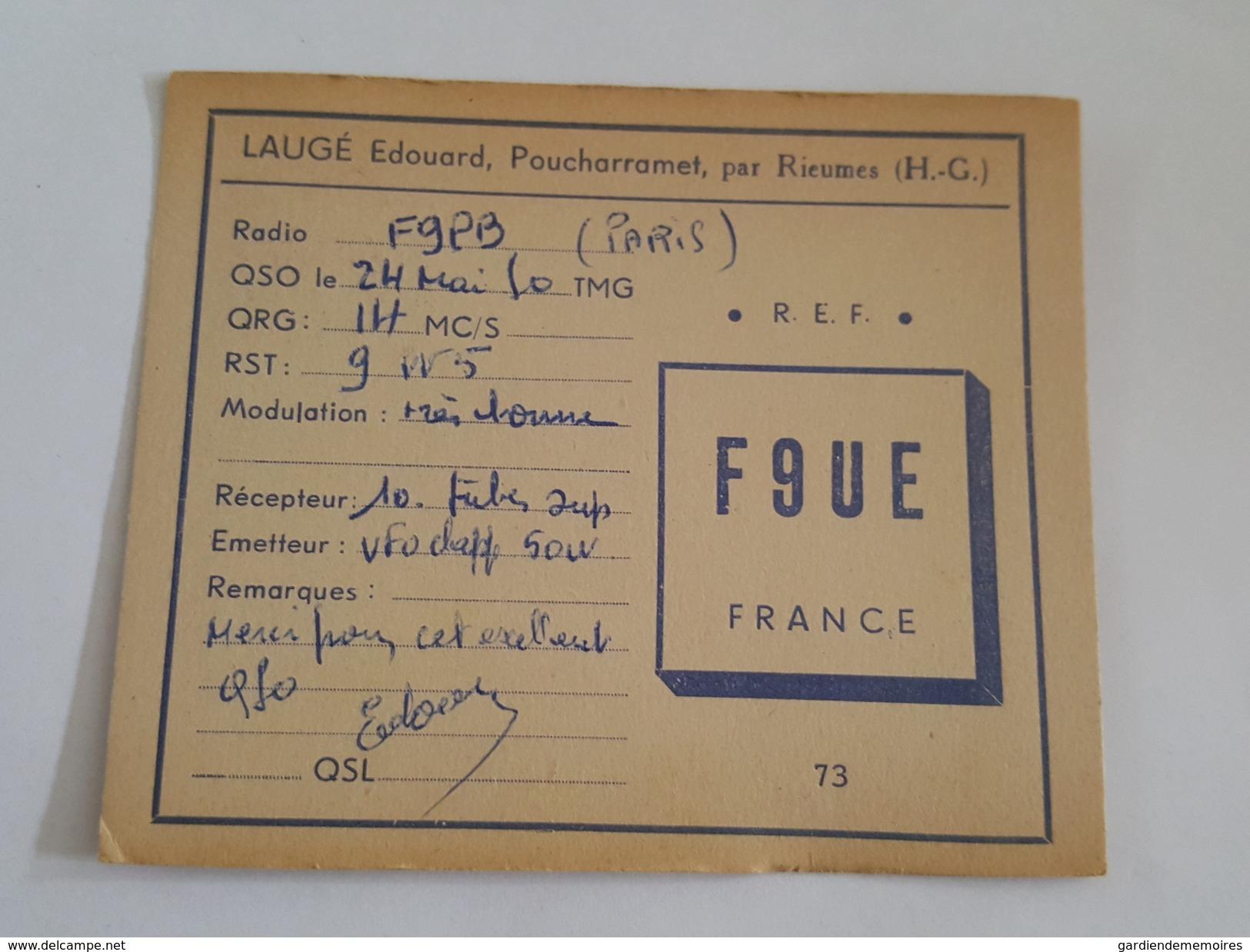 Laugé Edouard à Poucharramet Par Rieumes - Cartes QSL Radio Amateur Avec Timbre Au Dos - France