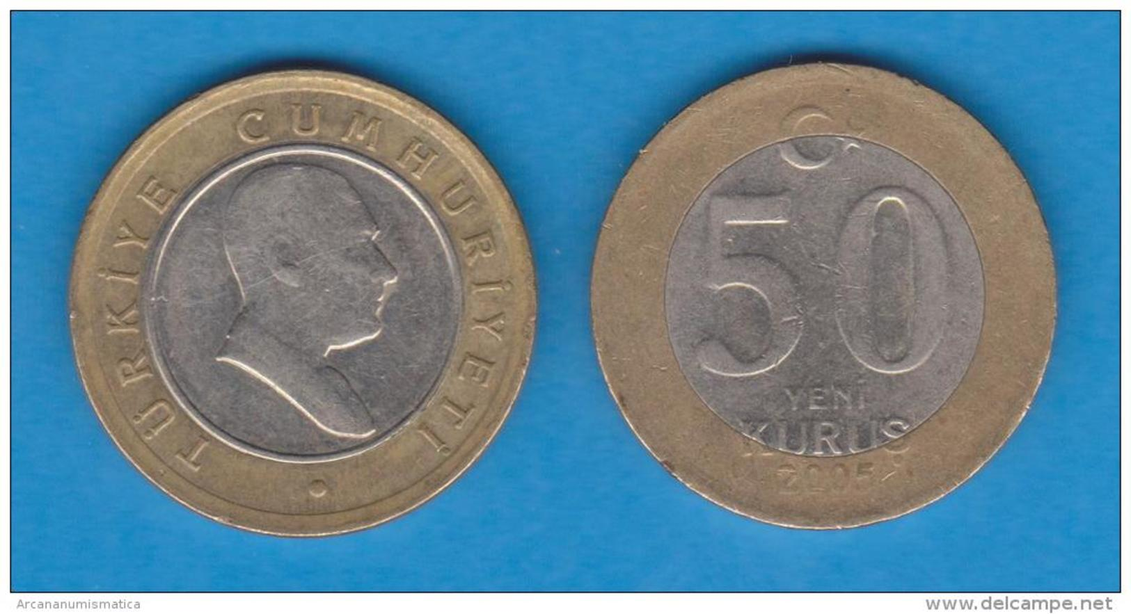 TURQUIA  50  NEW  KURUS  2.005  Bimetalica  KM#1168   MBC/VF   T-DL-10.550 - Turquia