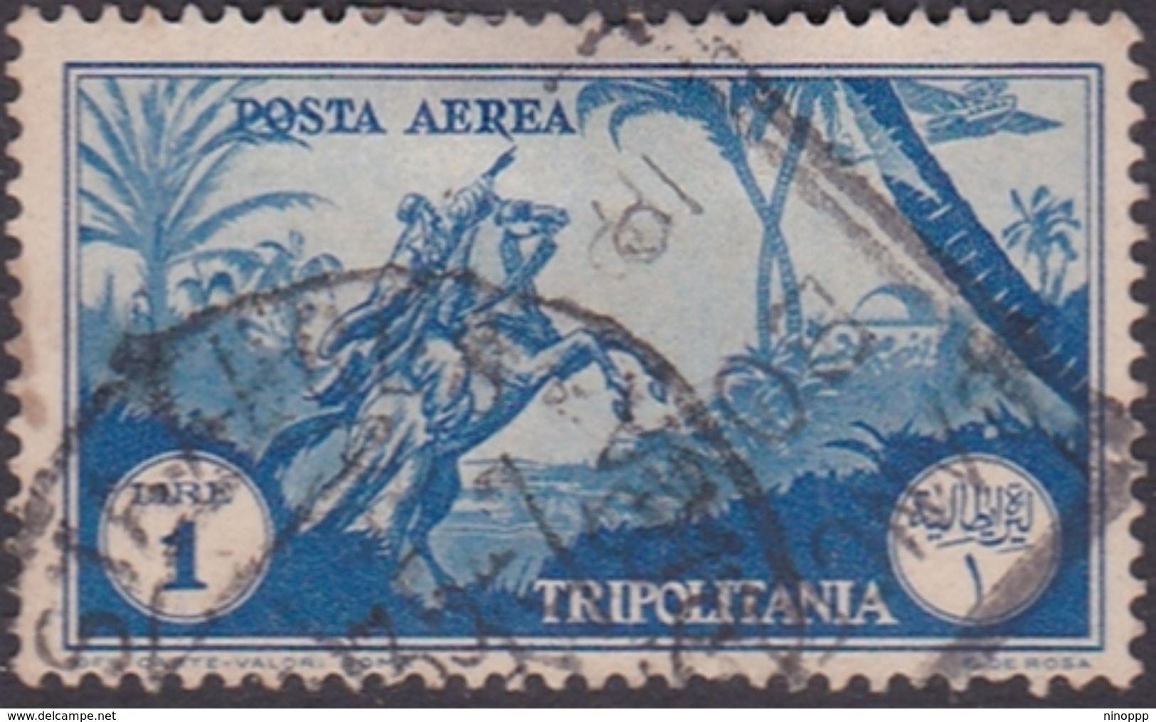 Italy-Colonies And Territories-Tripolitania A13  1931 Air Horseman, 1 Lira Blue Used - Tripolitania