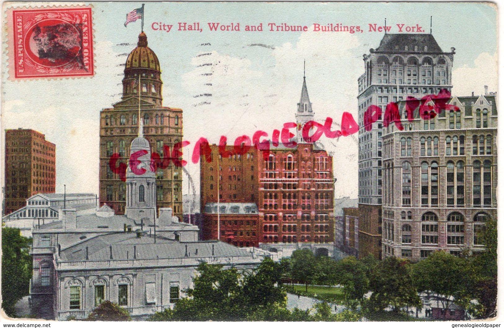 ETATS UNIS - NEW YORK - CITY HALL  WORLD AND TRIBUNE BUILDINGS - Autres Monuments, édifices