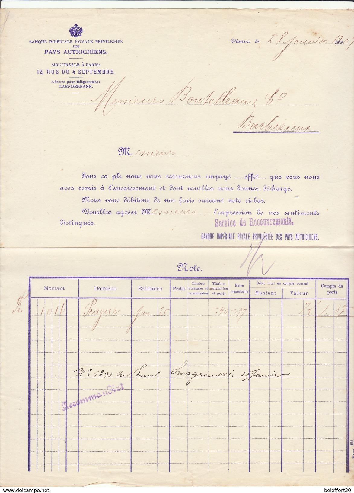 Autriche, Vienne, Banque Impériale Royale Priviliégée Des Pays Autrichiens, 1907 - Autriche