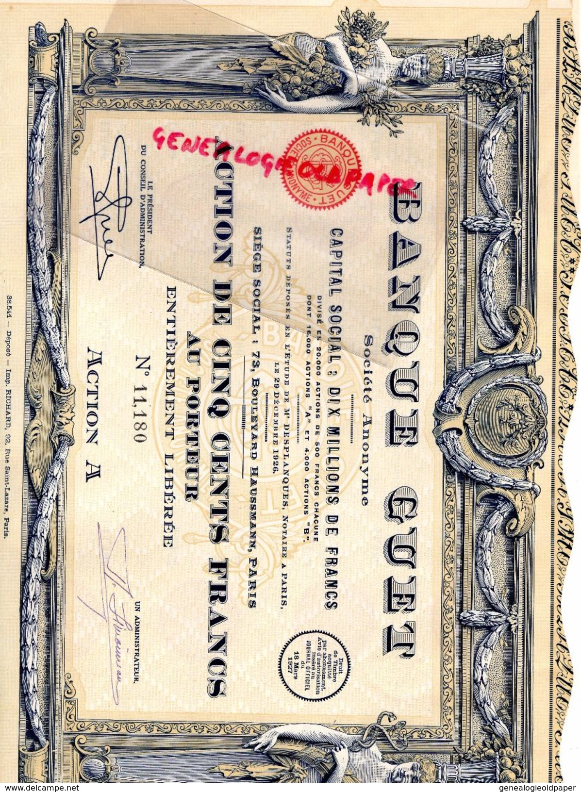 75 - PARIS- BANQUE GUET -ACTION 500 FRANCS- 1926- 73 BD HAUSSMANN- MAITRE DESPLANQUES NOTAIRE -IMPRIMERIE RICHARD - Banque & Assurance
