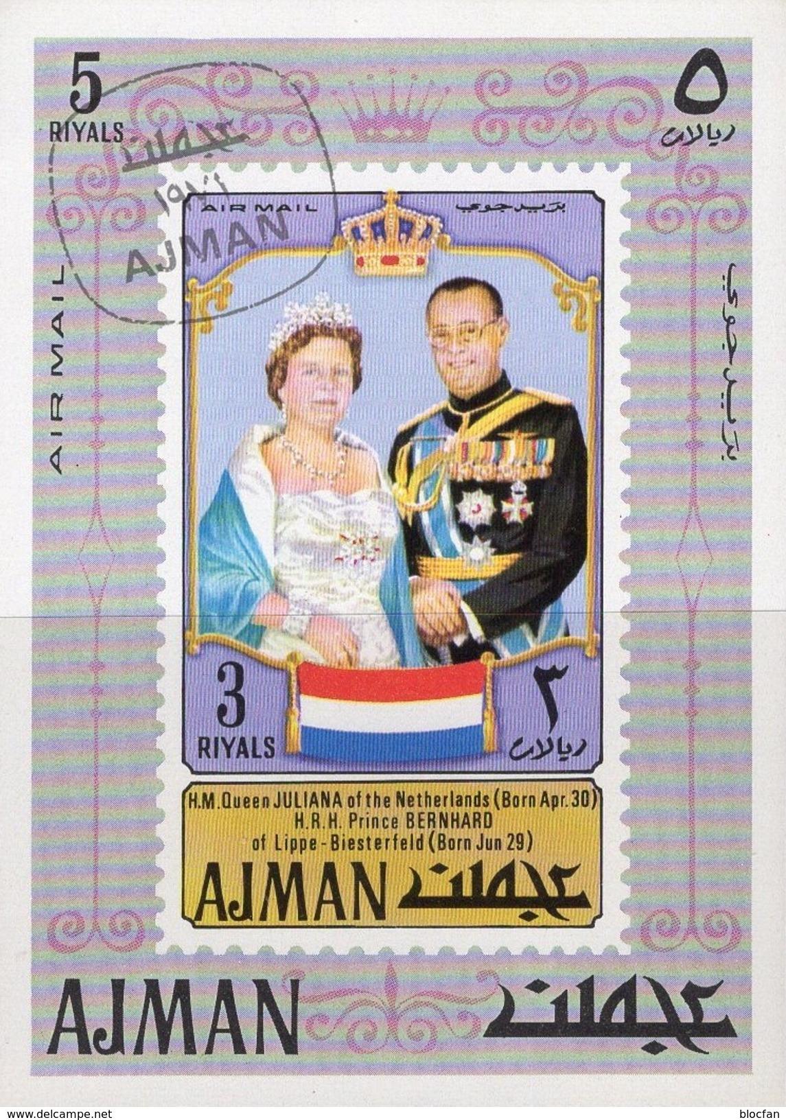 Prince Bernhardt/ Königin Julianet NL 1971 Adschman Block 316 O 6€ Niederlande Royal Bloc S/s Queen Sheet M/s Bf VA - Royalties, Royals
