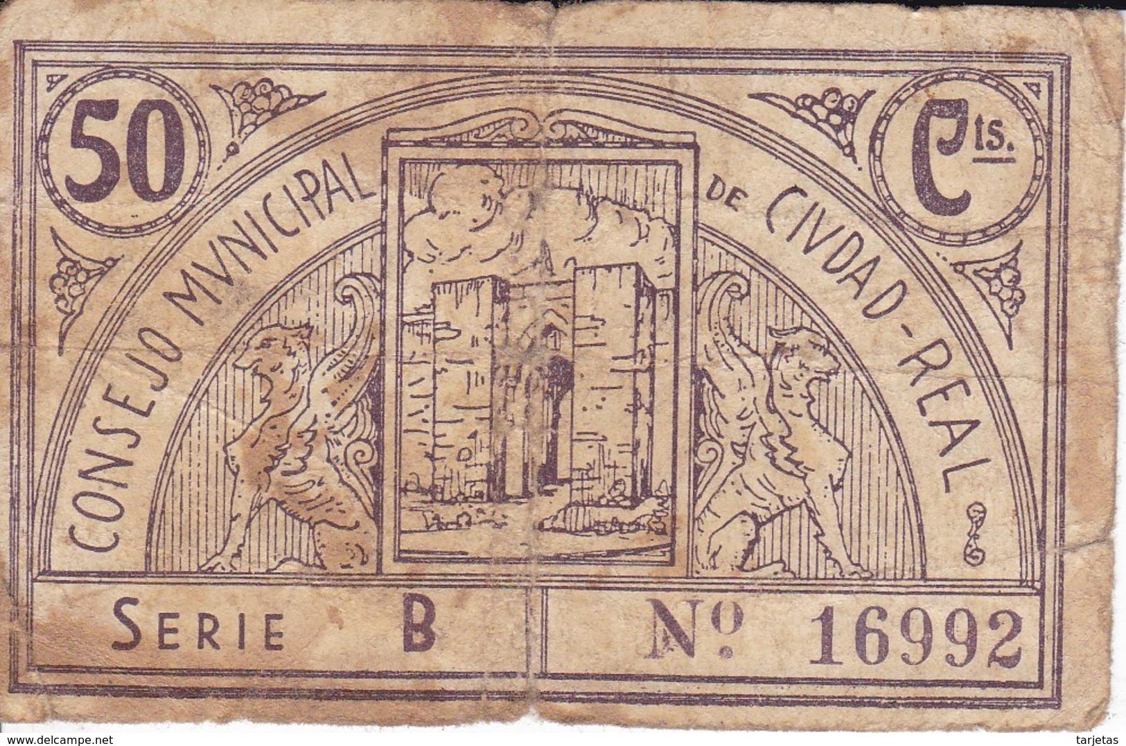 BILLETE DE 50 CENTIMOS DEL CONSEJO MUNICIPAL DE CIUDAD REAL DEL AÑO 1937 - RARO     (BANKNOTE) - [ 2] 1931-1936 : República