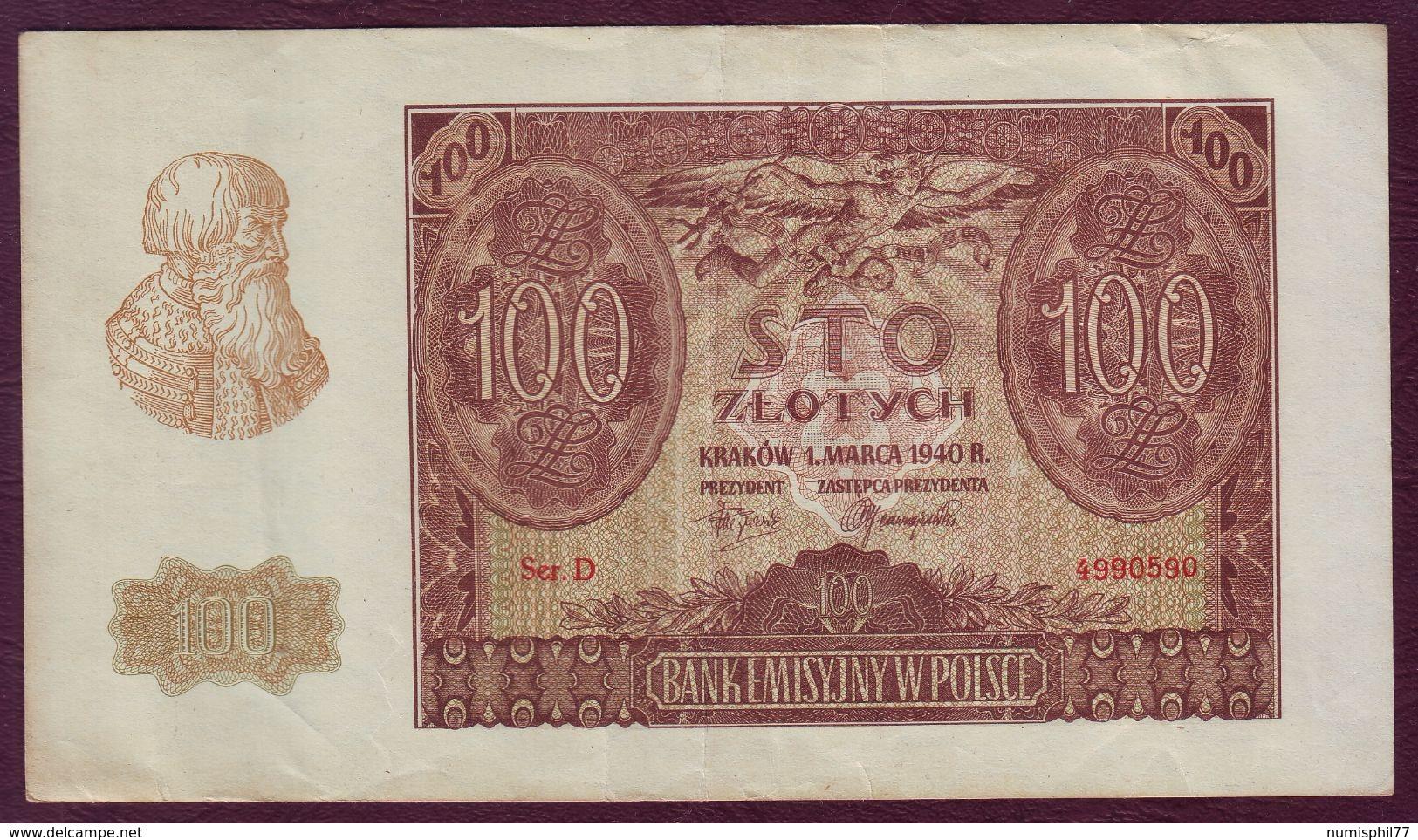 POLOGNE - 100 ZLOTYCH  - 01/03/1940 - Pologne