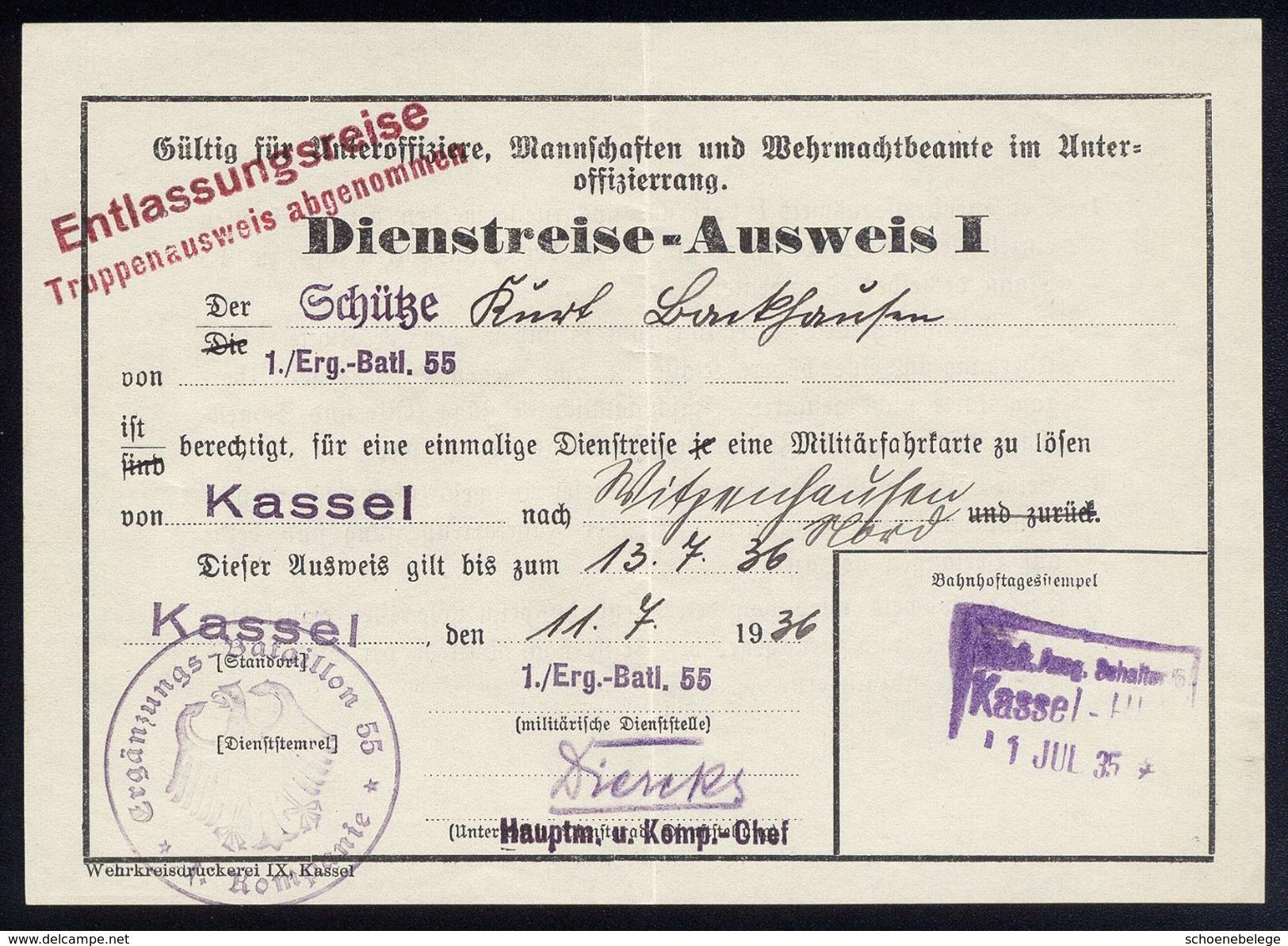 A4893) DR Armee Dienstreise-Ausweis I Von Kassel 1.7.35 - Historische Dokumente