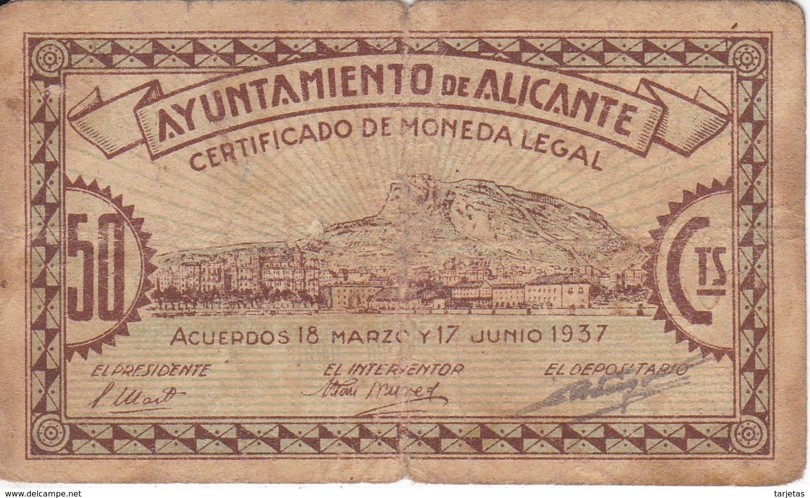 BILLETE DE 50 CENTIMOS DEL AYUNTAMIENTO DE ALICANTE DEL AÑO 1937     (BANKNOTE) - [ 2] 1931-1936 : República