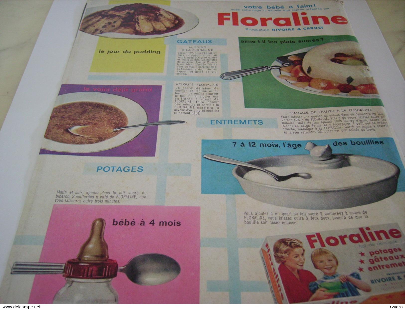 ANCIENNE PUBLICITE  FLORALINE DE RIVOIRE 1961 - Posters