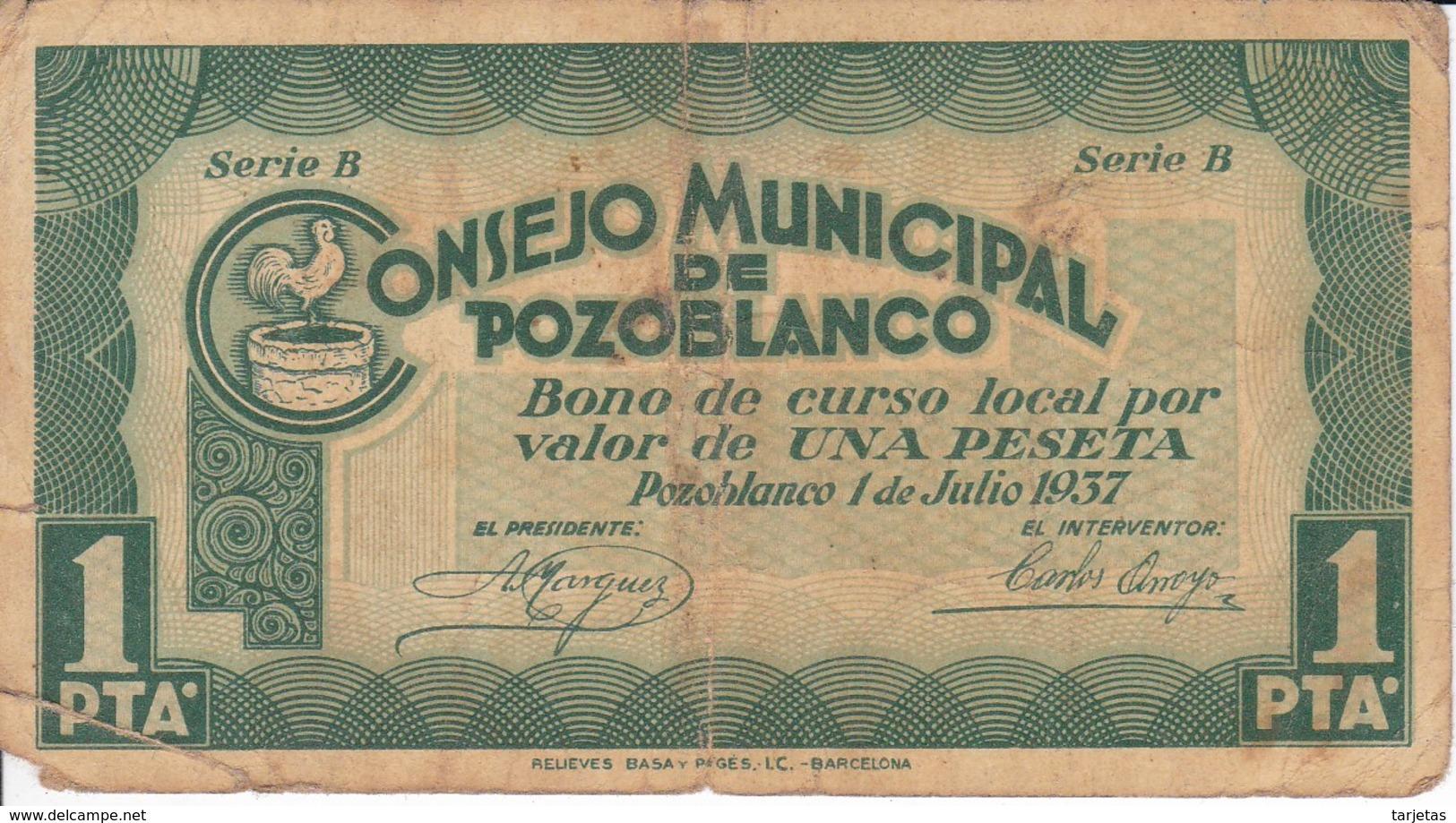 BILLETE DE 1 PESETA DEL CONSEJO MUNICIPAL DE POZOBLANCO DEL AÑO 1937 (CORDOBA)    (BANKNOTE) - Sin Clasificación