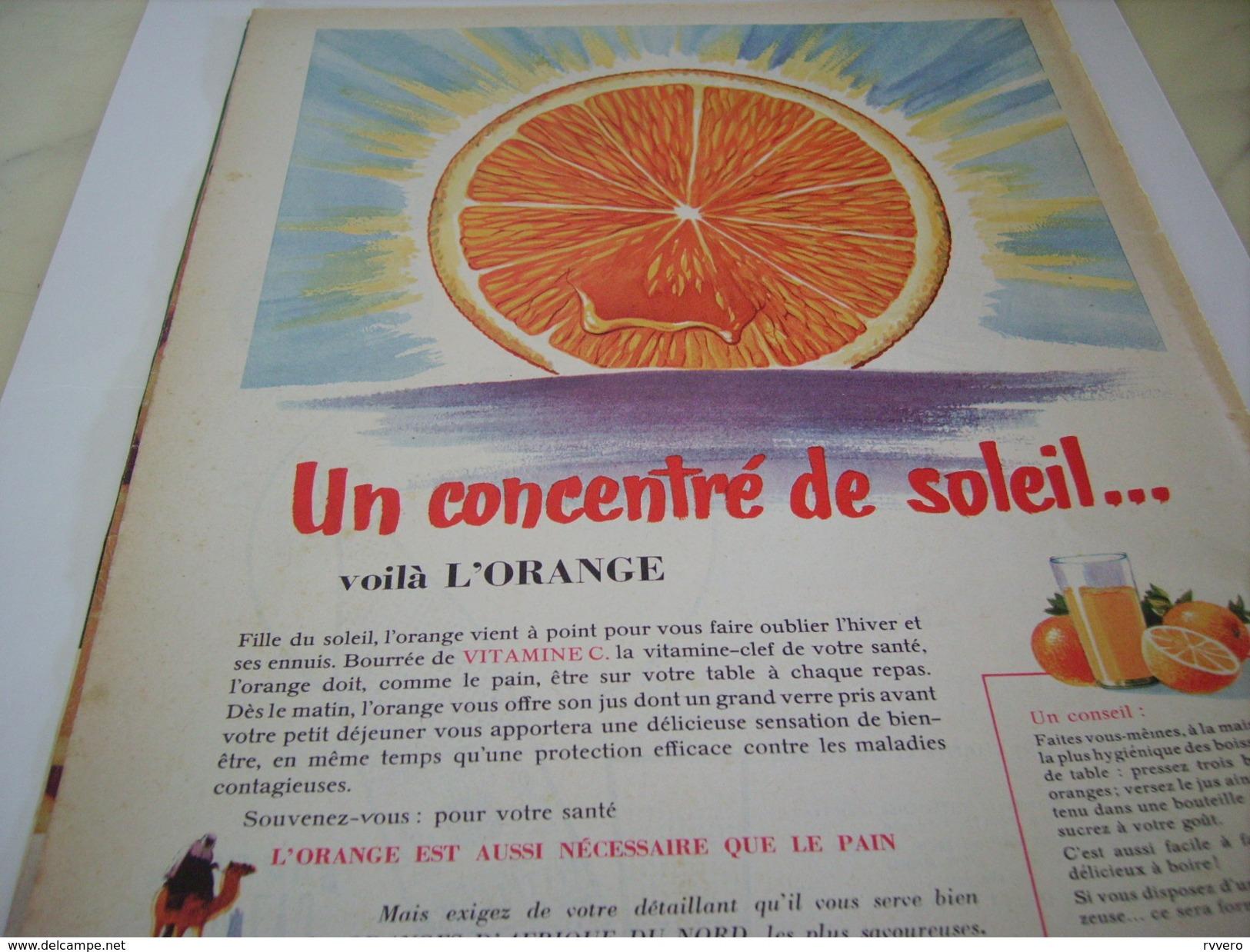 ANCIENNE PUBLICITE CONCENTRE DE SOLEIL VOILA L ORANGE  1951 - Posters