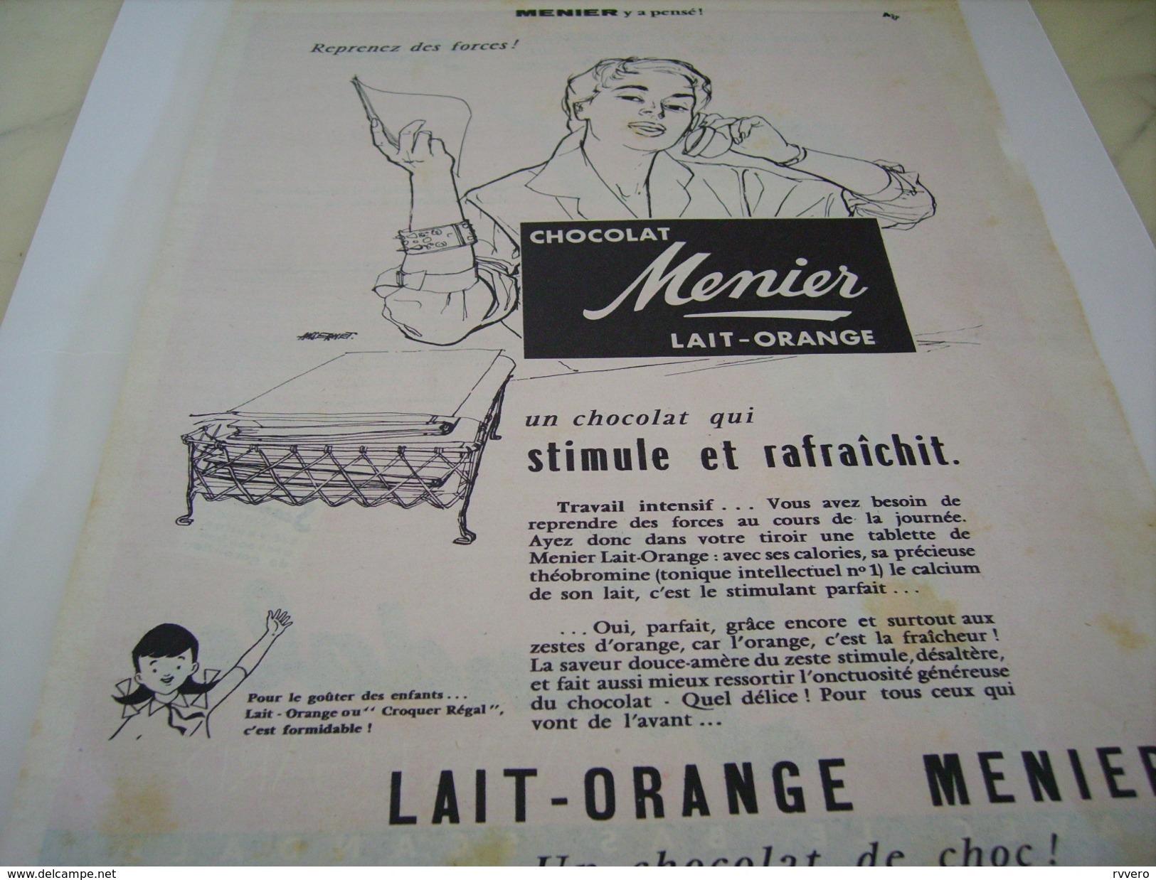 ANCIENNE PUBLICITE  CHOCOLAT LAIT ORANGE MENIER  1955 - Posters
