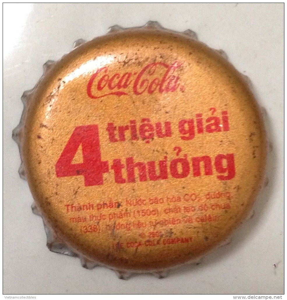 Vietnam Viet Nam Coca Cola Promotion With 4 Millions Prizes /used Bottle Crown Cap / Kronkorken / Capsule / Chapa /tappi - Casquettes
