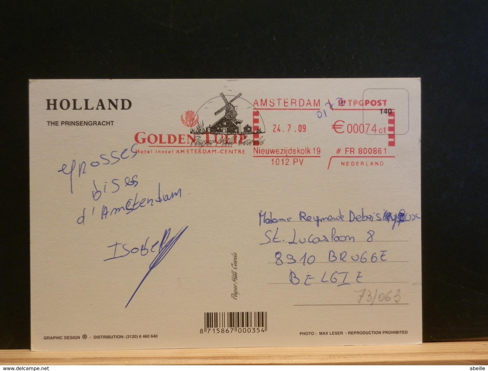 73/063 BIEFKAART NAAR BELG.  2009  RODE VLAGSTEMPEL - Periode 1980-... (Beatrix)