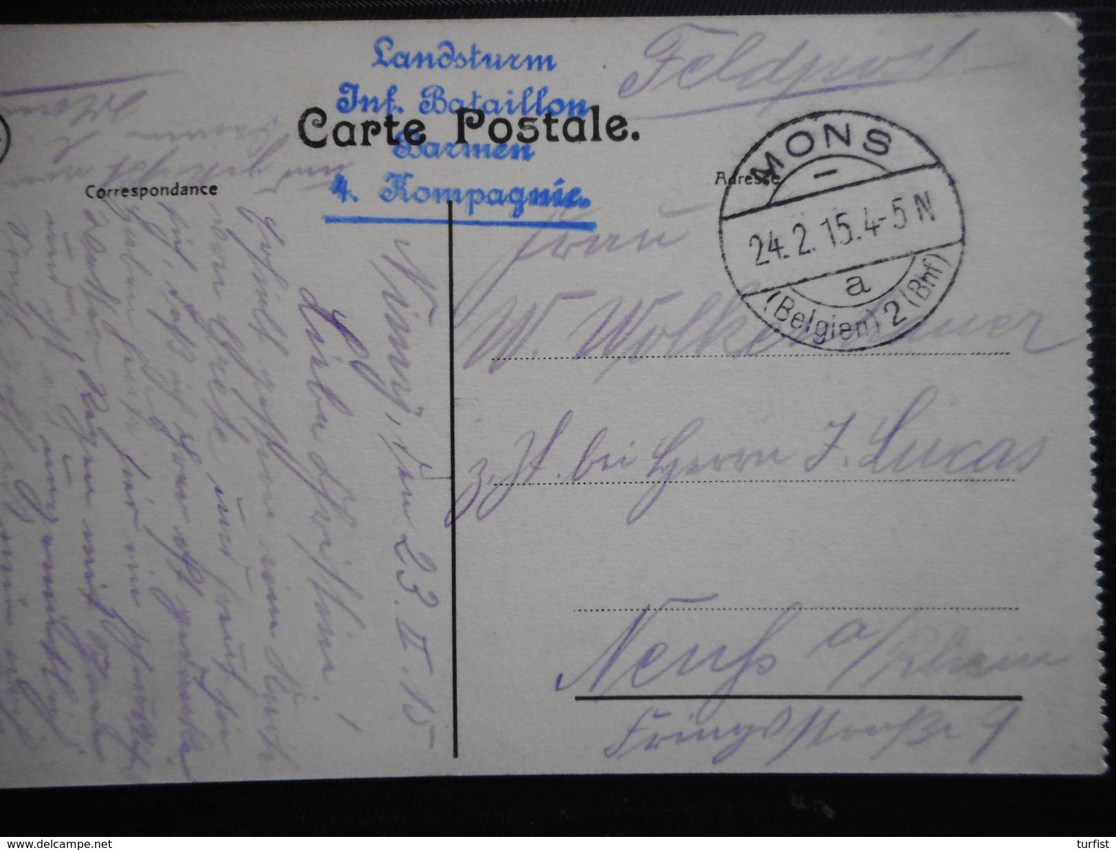 POSTKAART UIT LEUVEN VERZONDEN MONS 24-2-15>NEUFS A /RHEIN LANDSTURM/INF.BATAILLON/BORNEM/4 KOMPAGNIE - Weltkrieg 1914-18