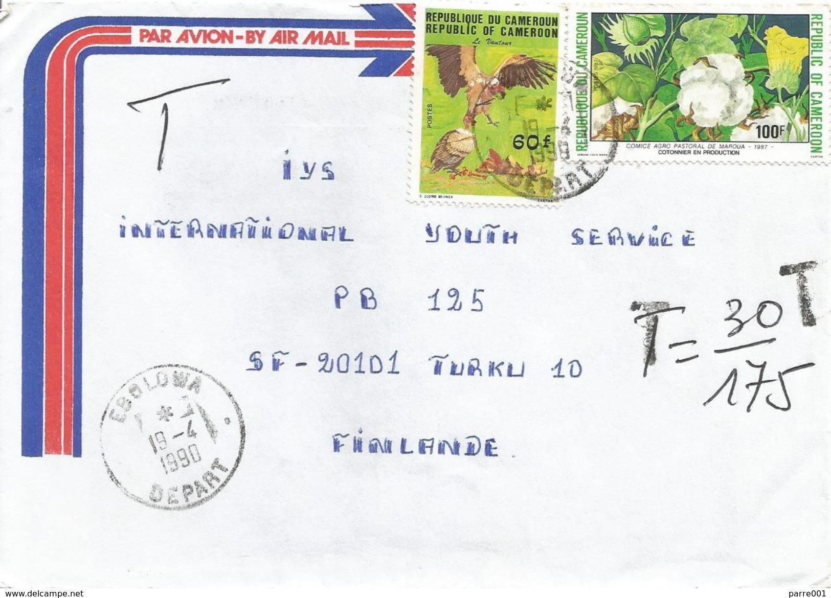 Cameroun Cameroon 1990 Ebolowa Vulture Cotton Taxed Underfranked Cover - Kameroen (1960-...)