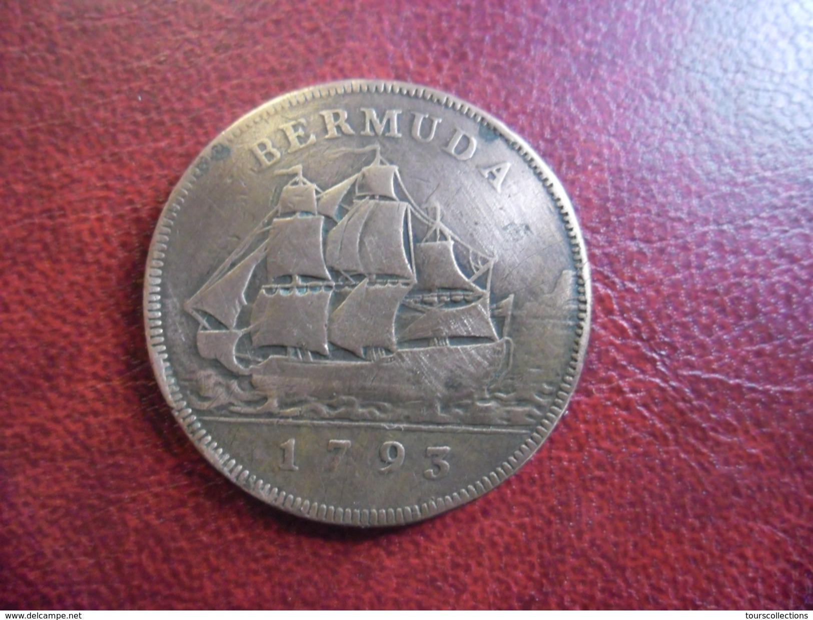 BERMUDA PENNY 1793. GEORGE III. KM# 5. VERY RARE Colonie Anglaise Bermudes - Bateau à Voiles - Bermudes