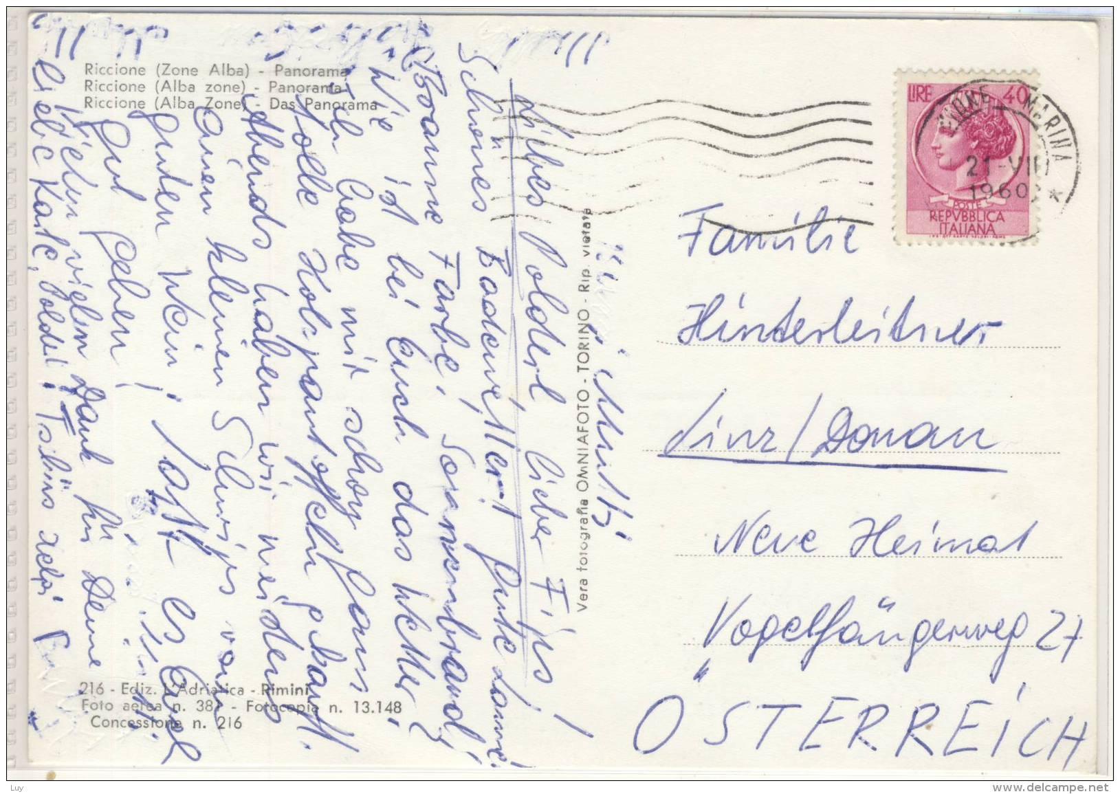 RICCIONE,  ZONA ALBA - Panorama, Veduta Aerea , Viaggiata 1960 - Rimini