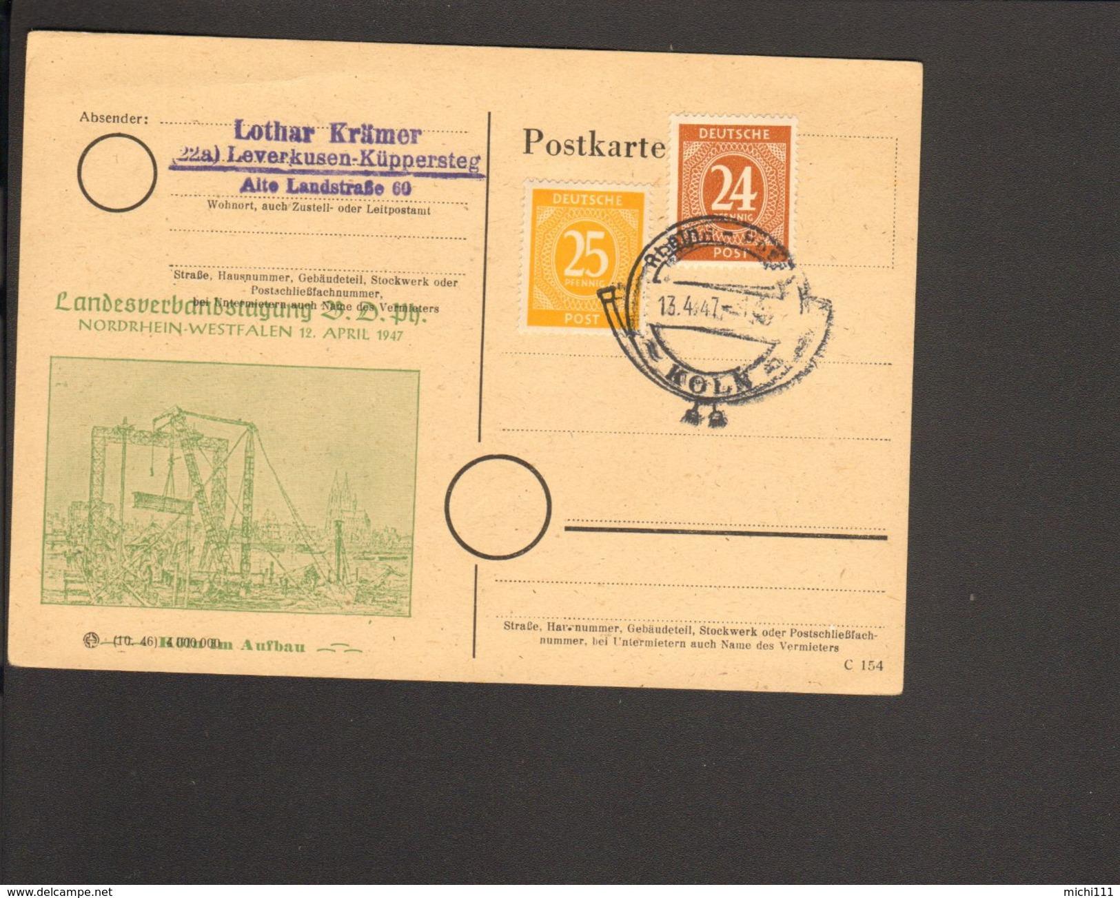 Alli.Bes. 24 U.25 Pfg.Ziffer Auf Postkarte Mit Sonderstempel Rhein-Posta Köln Von 1947 2 Bilder - Zone AAS