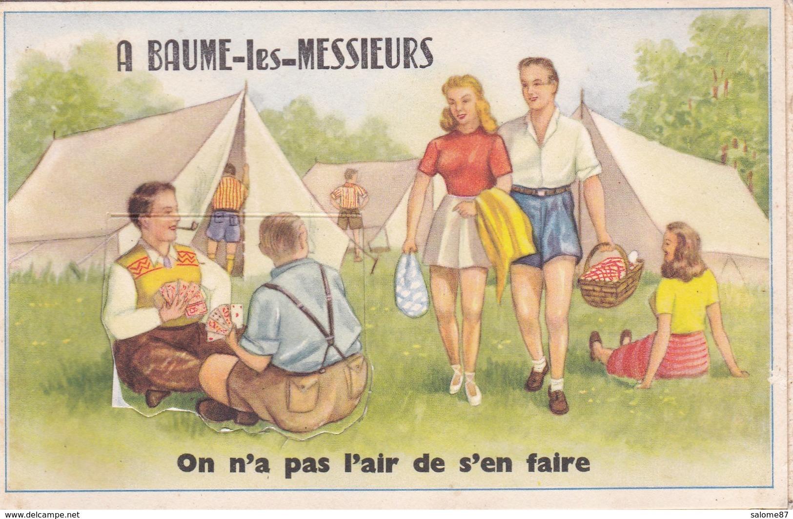 Cpa CARTE A SYSTEME A BAUME LES MESSIEURS N ONT PAS L AIR DE S EN FAIRE CARTE COULEUR - Humour