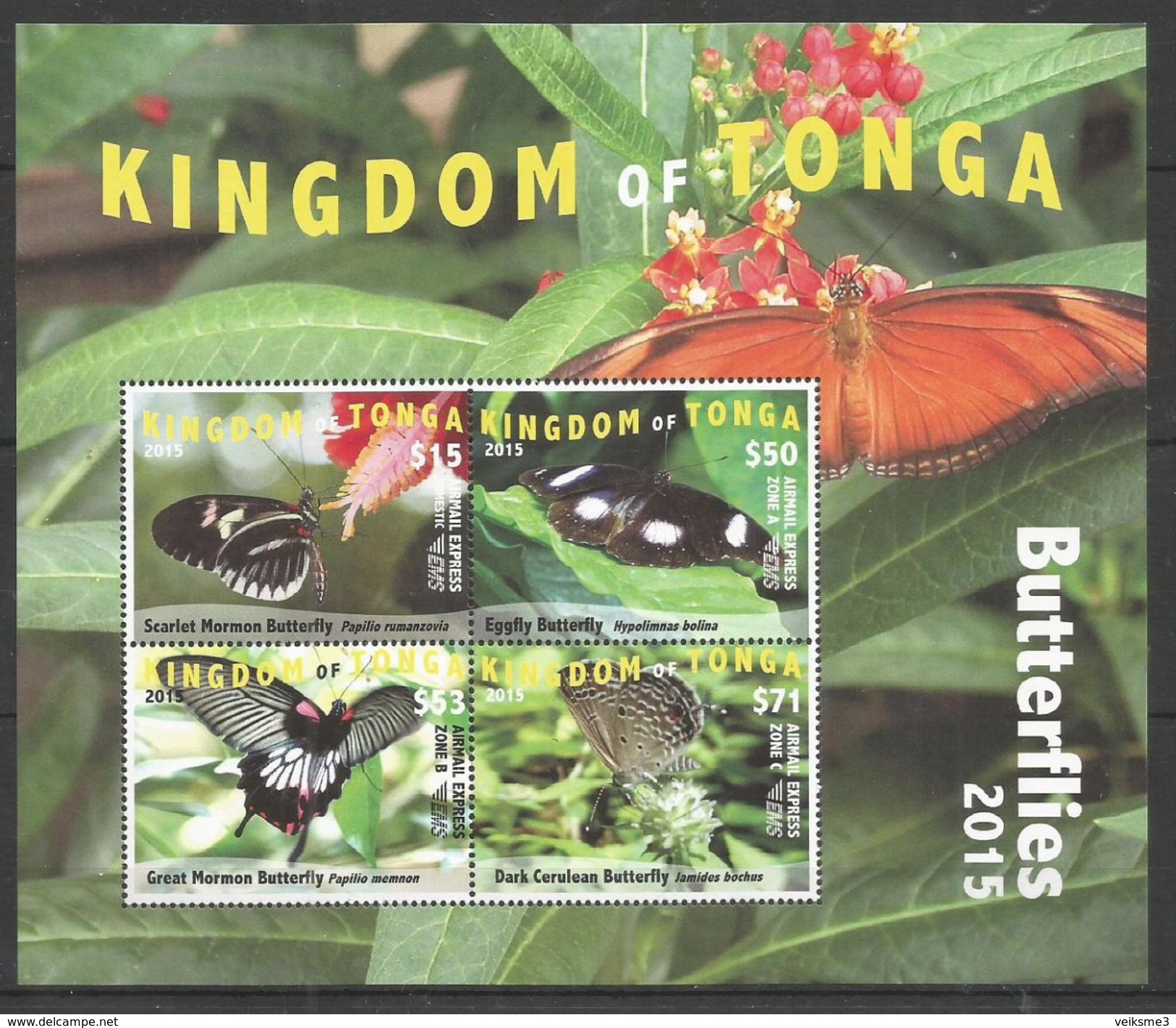 KINGDOM OF TONGA - MNH - Animals - Insects - Butterflies - 2015 - Papillons
