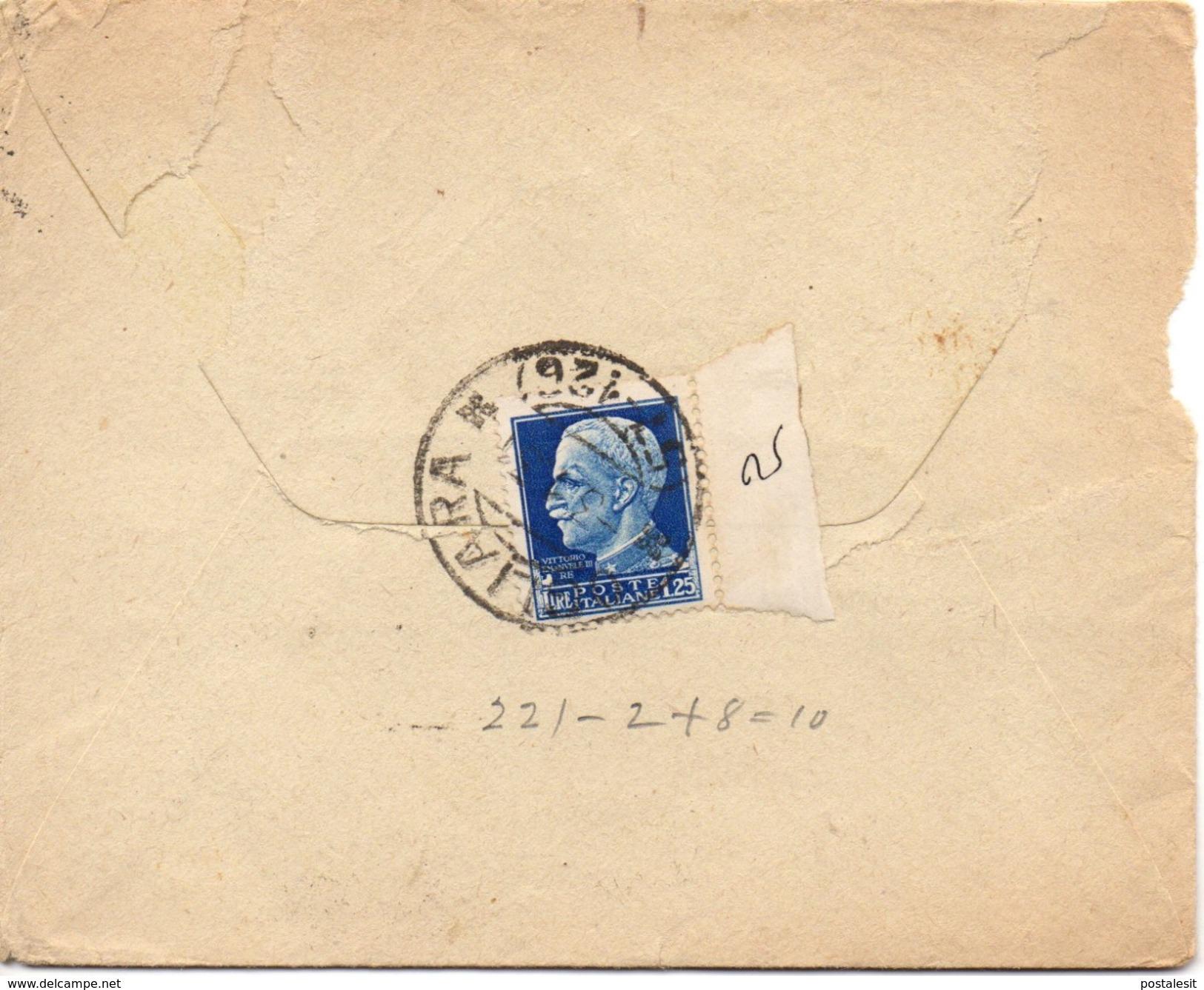 OGLIARA (FRAZIONARIO) SALERNO Per NEW YORK USA - Busta Per ESTERO 1,25£ Imperiale 2/121 - 1900-44 Vittorio Emanuele III