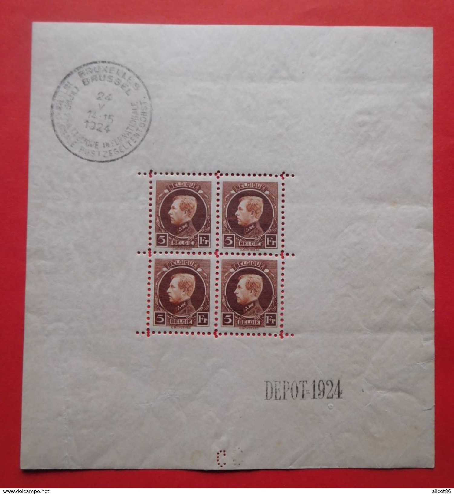 Bloc N°1 Timbres Neufs Belgique 1924 - Blocks & Sheetlets 1924-1960