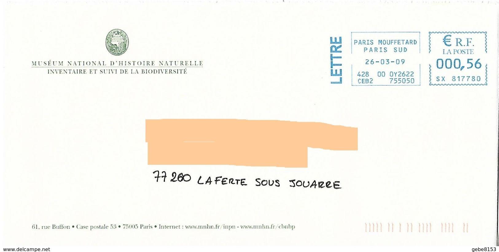 EMA SX 817780 Paris Sud Sur Enveloppe Illustrée Muséum Histoire Naturelle Biodiversité Rue Buffon - Natuur