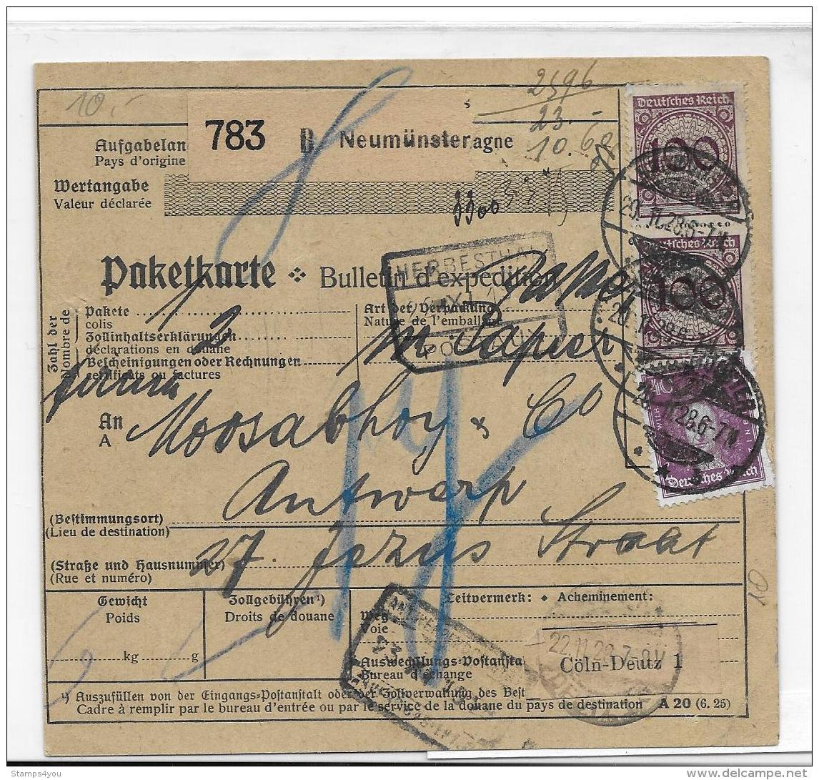 40-3 - Carte De Paquet 1928 Neumünster - Allemagne