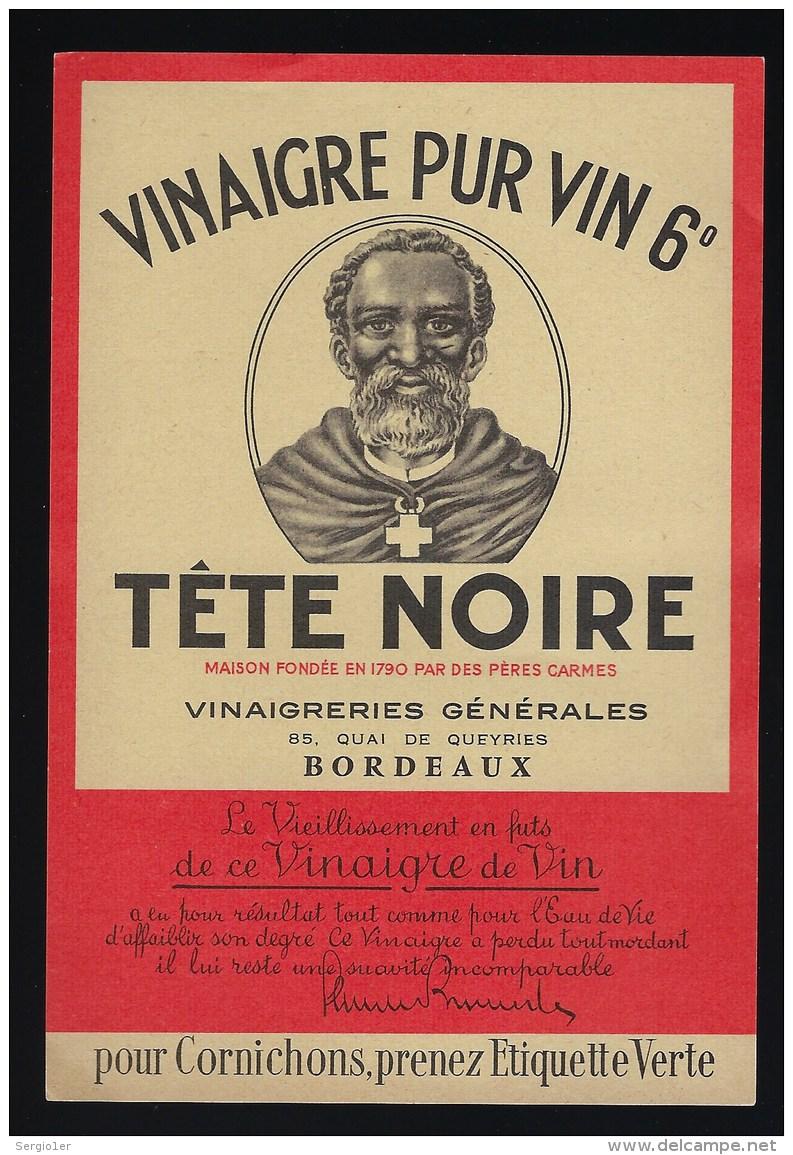 Etiquette  Vinaigre  Pur Vin  Tête Noire  Vinaigrerie Générale Bordeaux - Autres