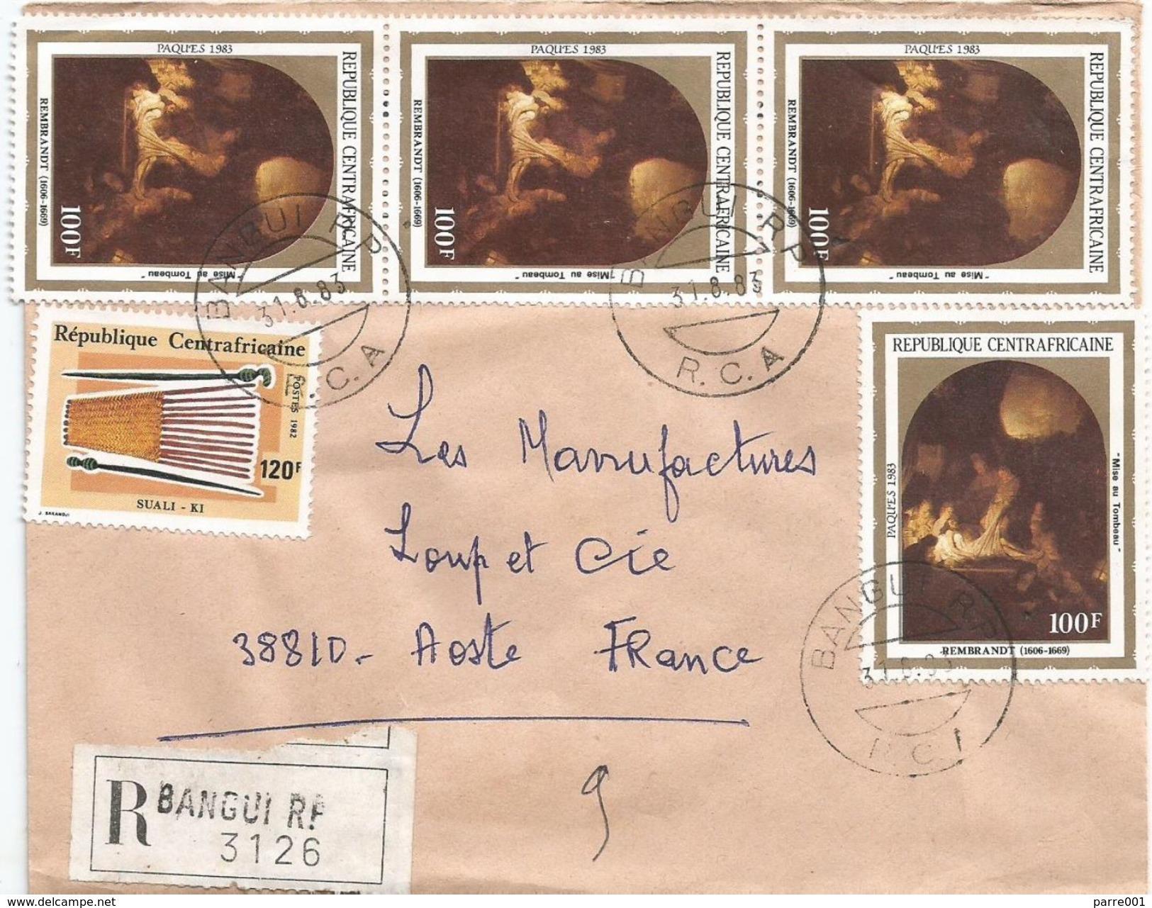 Centrafrique RCA CAR 1983 Bangui Painter Rembrandt Basket Registered Cover - Centraal-Afrikaanse Republiek