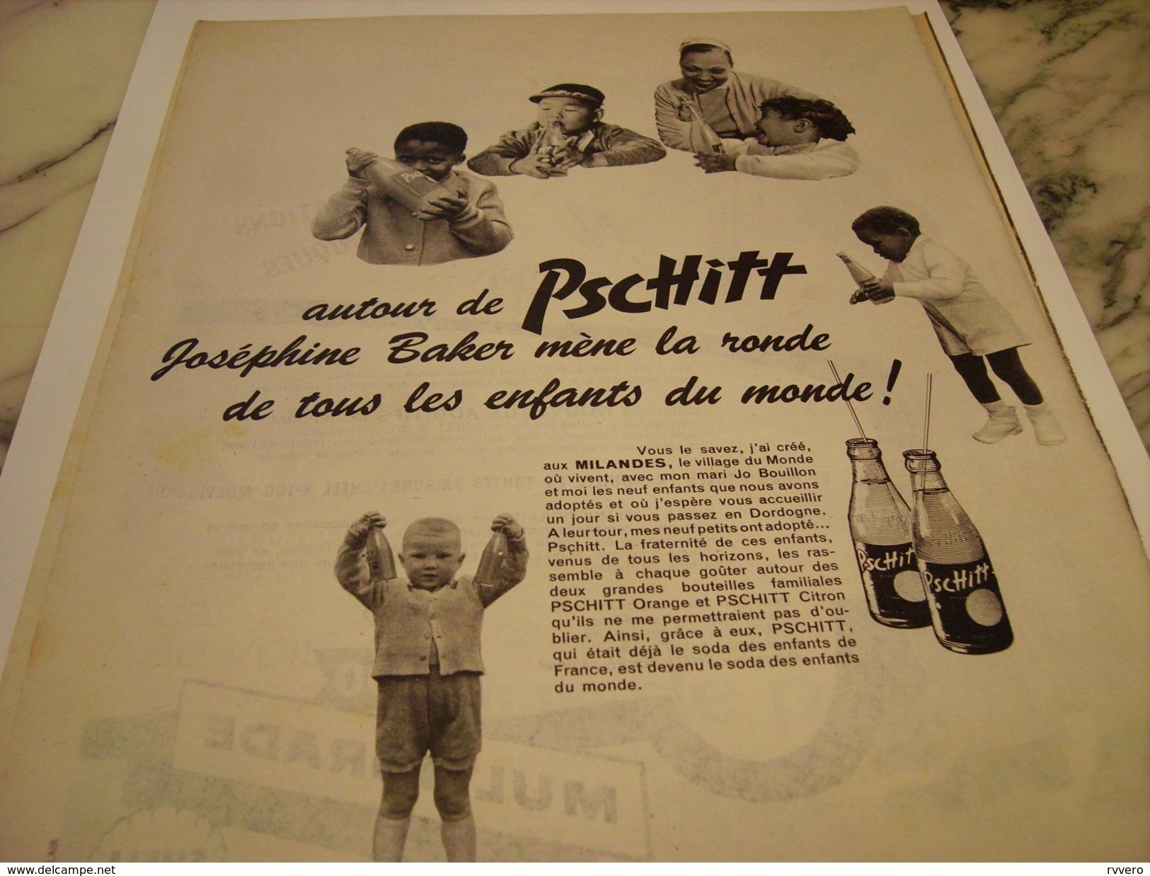 ANCIENNE PUBLICITE JOSEPHINE BAKER  SODA  LIMONADE PSCHITT 1959 - Posters