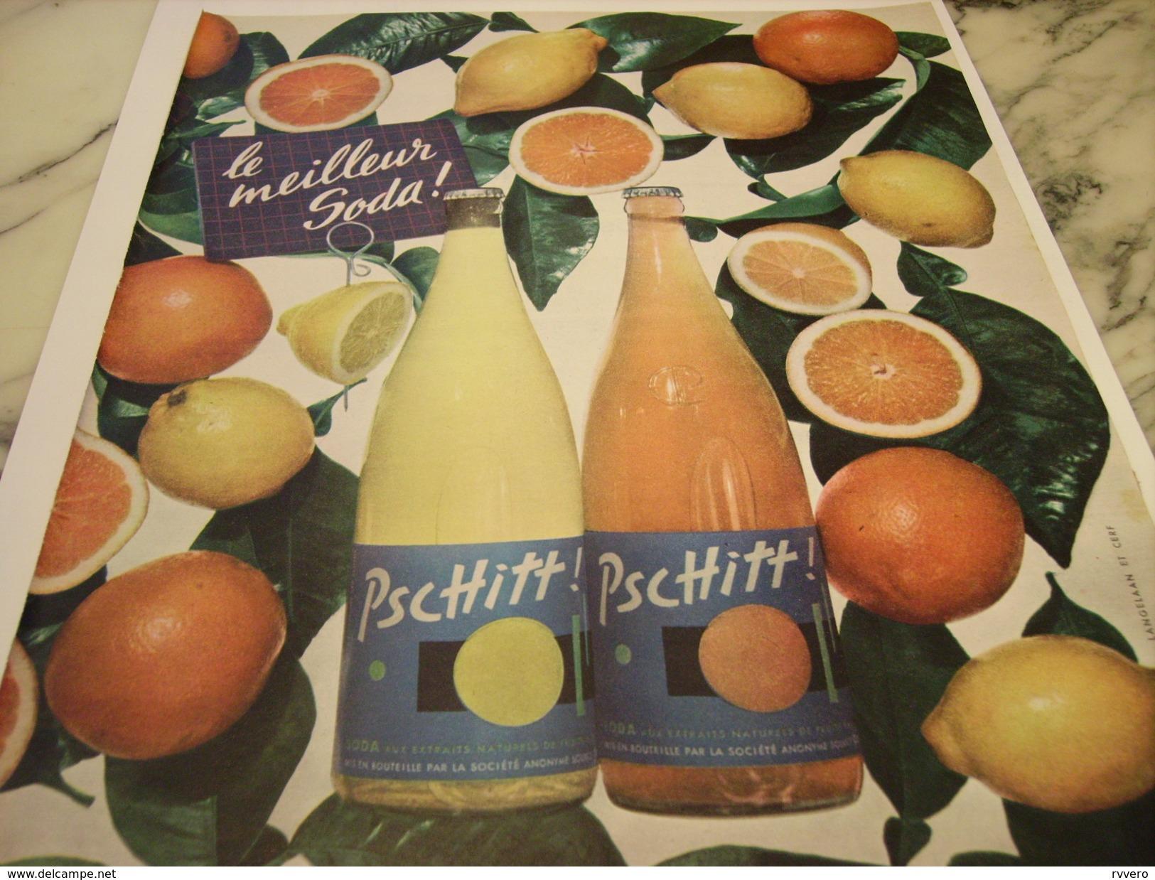 ANCIENNE PUBLICITE LE MEILLEUR SODA  LIMONADE PSCHITT 1958 - Advertising