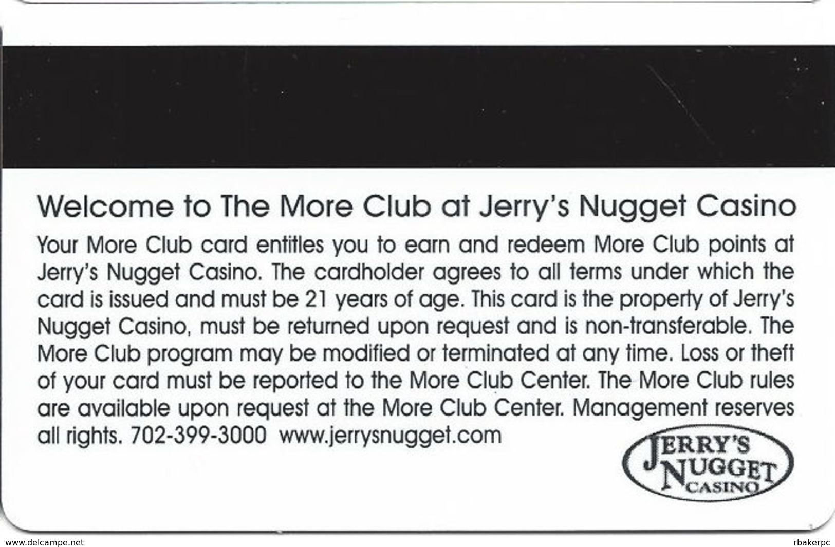 Jerry´s Nugget Casino Las Vegas BLANK 11th Issue Slot Card - Casino Cards